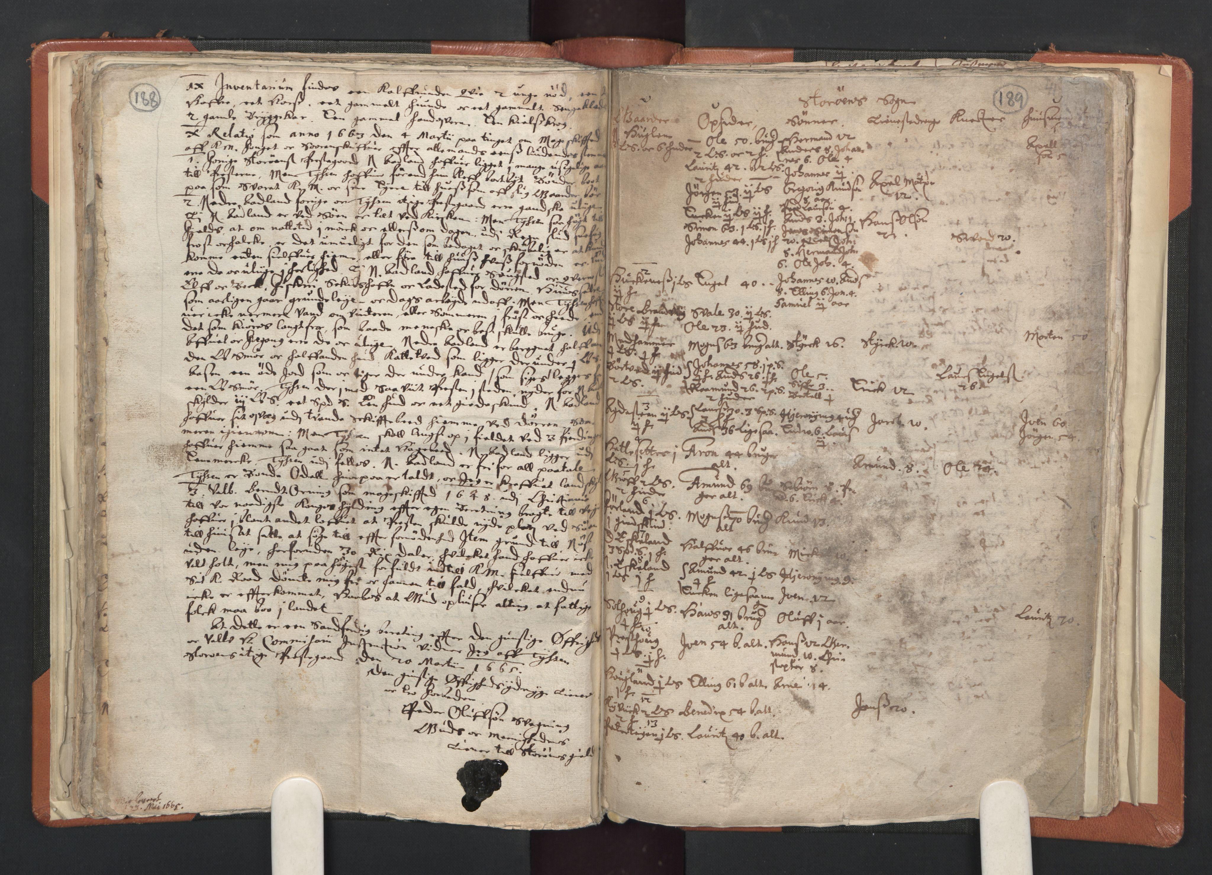 RA, Sogneprestenes manntall 1664-1666, nr. 20: Sunnhordland prosti, 1664-1666, s. 188-189