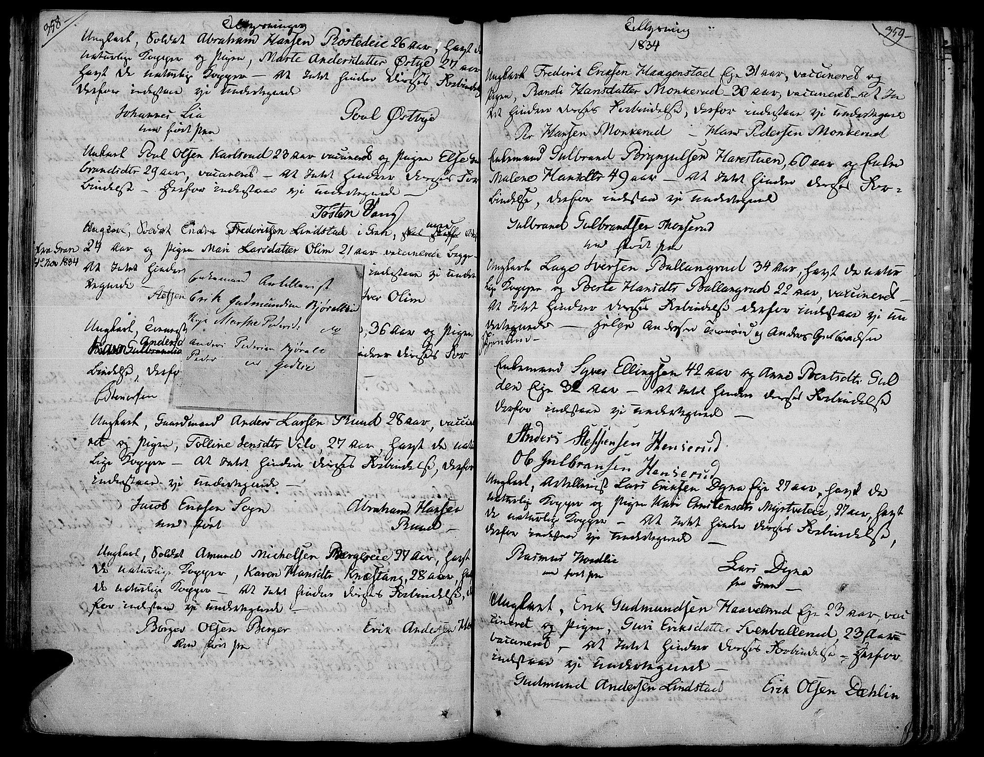SAH, Jevnaker prestekontor, Ministerialbok nr. 4, 1800-1861, s. 358-359