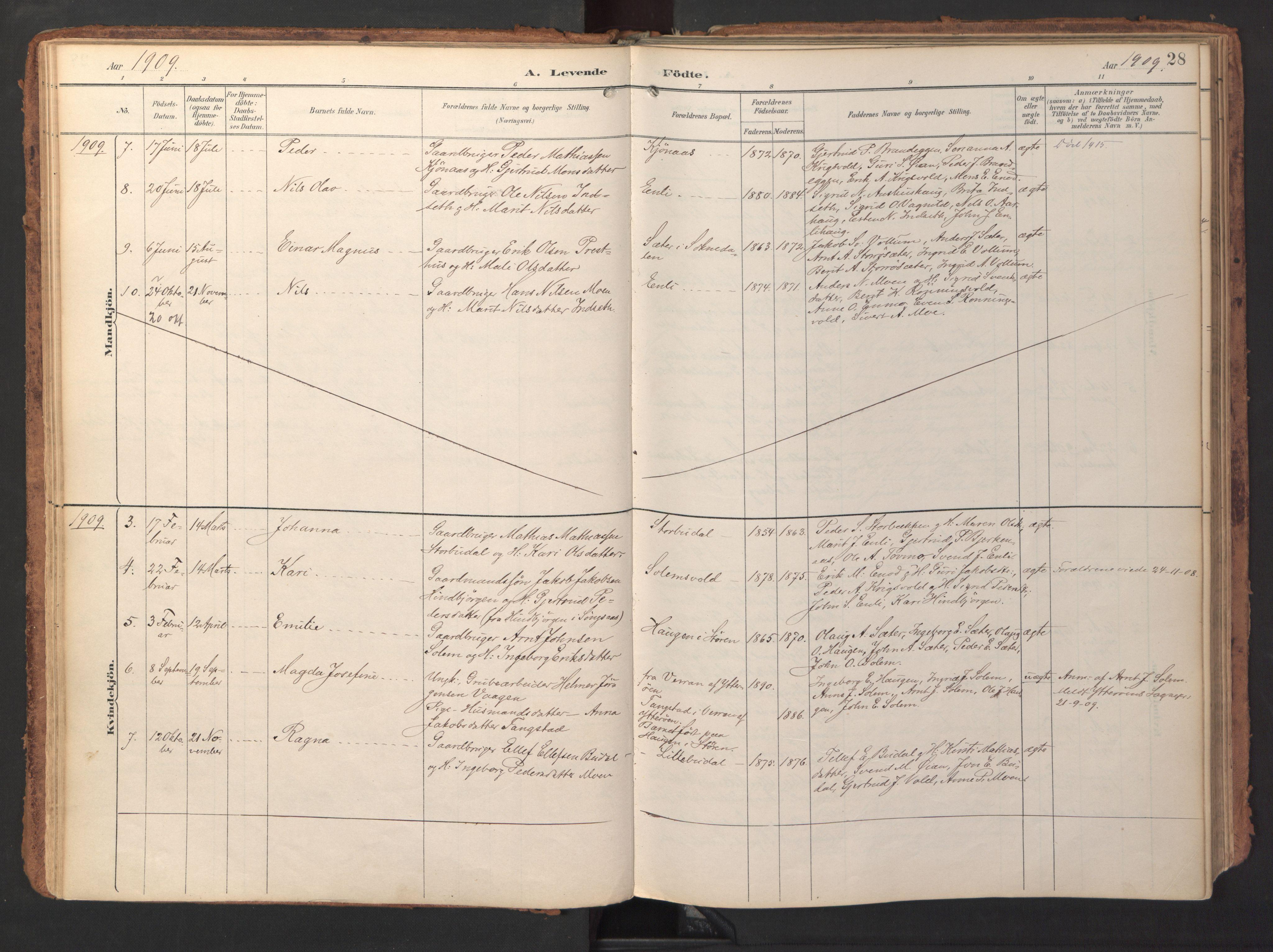 SAT, Ministerialprotokoller, klokkerbøker og fødselsregistre - Sør-Trøndelag, 690/L1050: Ministerialbok nr. 690A01, 1889-1929, s. 28