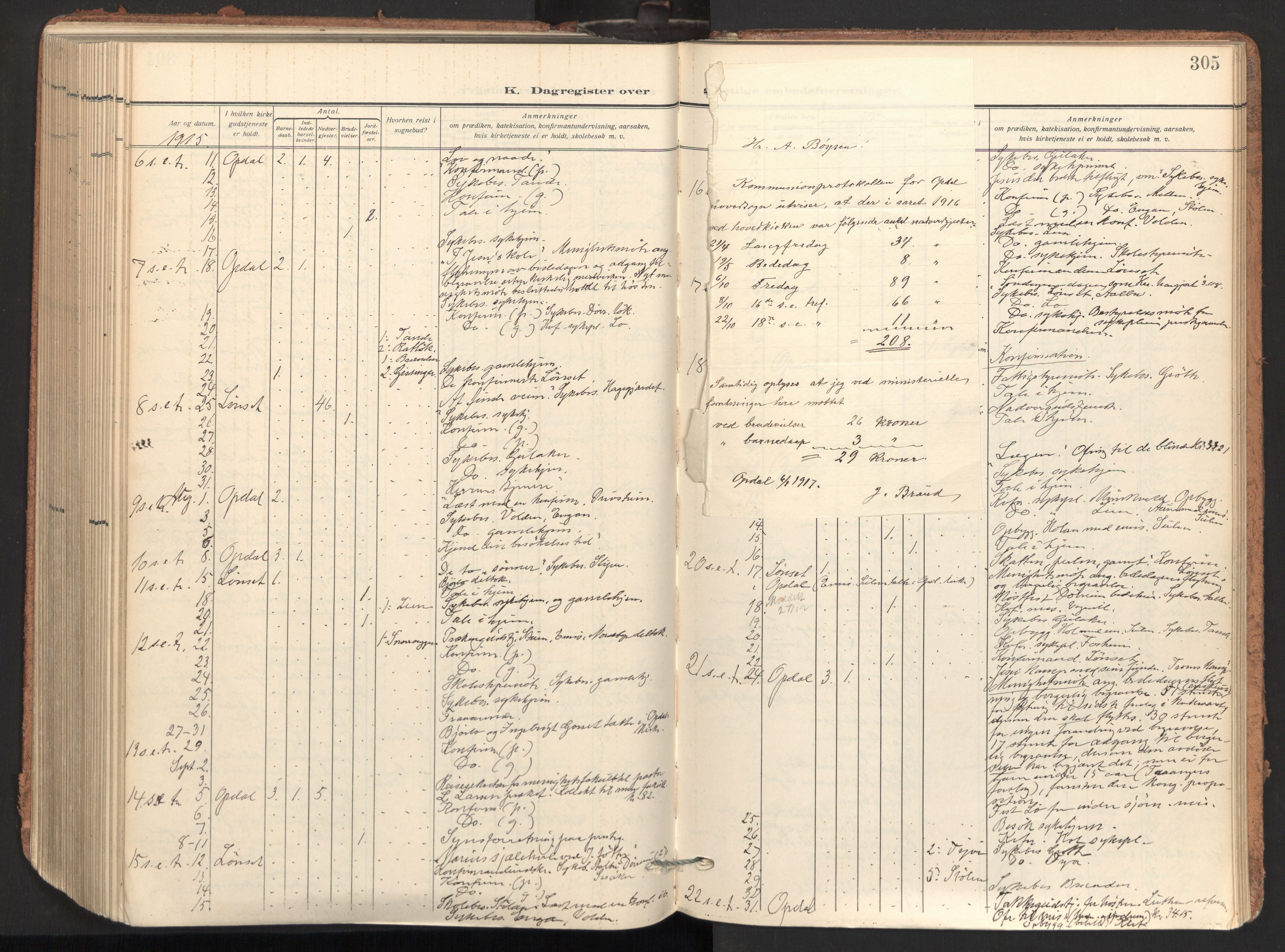 SAT, Ministerialprotokoller, klokkerbøker og fødselsregistre - Sør-Trøndelag, 678/L0909: Ministerialbok nr. 678A17, 1912-1930, s. 305