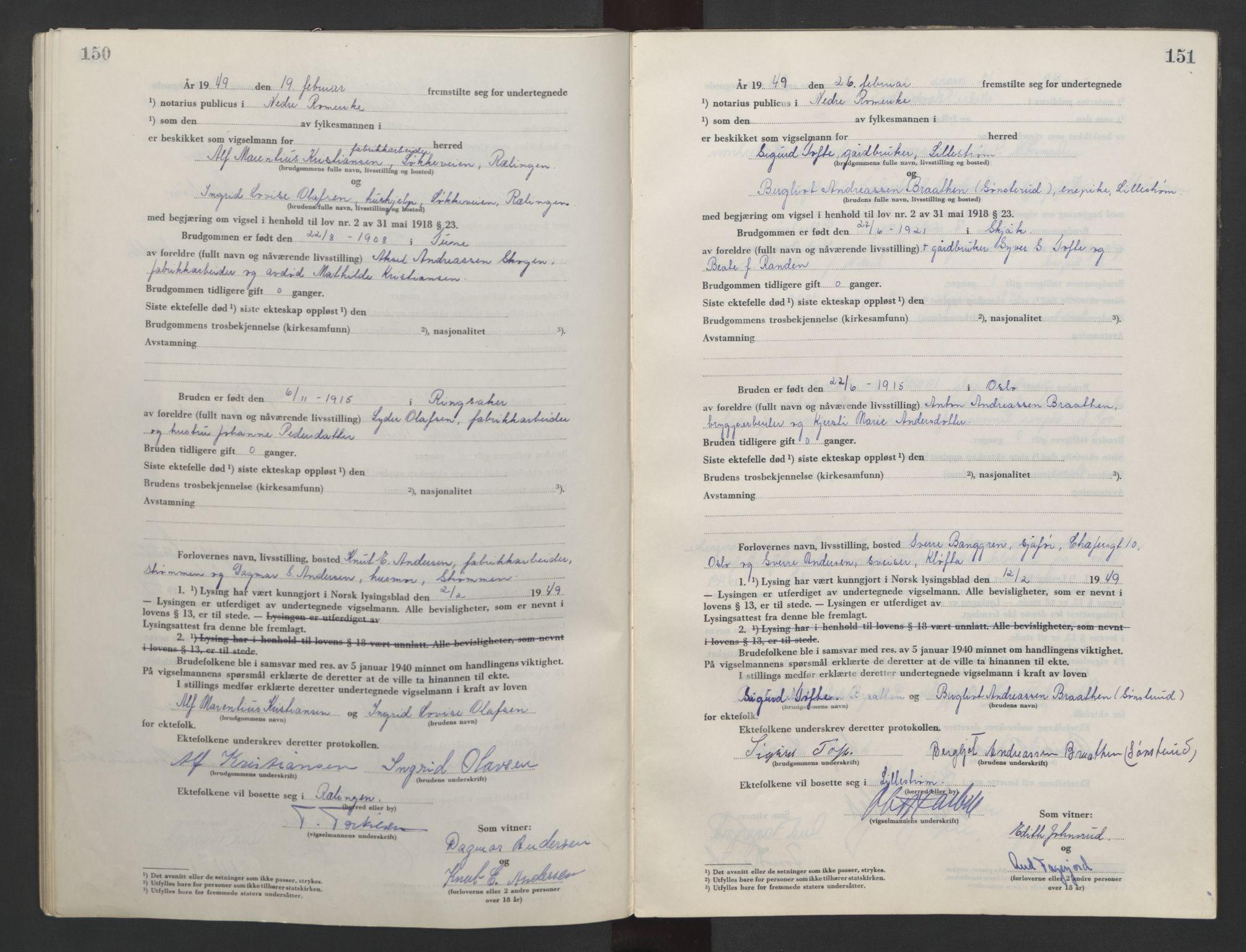 SAO, Nedre Romerike sorenskriveri, L/Lb/L0007: Vigselsbok - borgerlige vielser, 1946-1950, s. 150-151