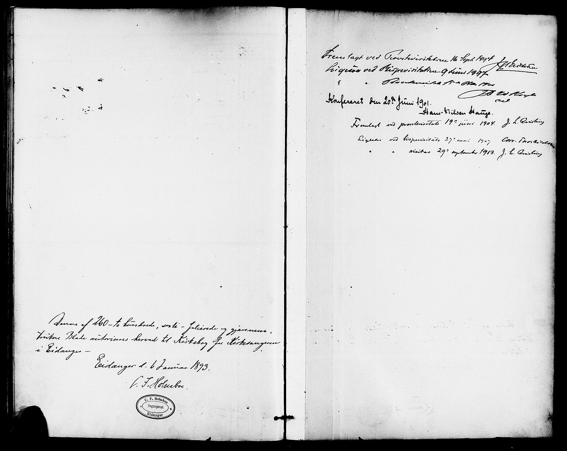 SAKO, Eidanger kirkebøker, G/Ga/L0003: Klokkerbok nr. 3, 1893-1911