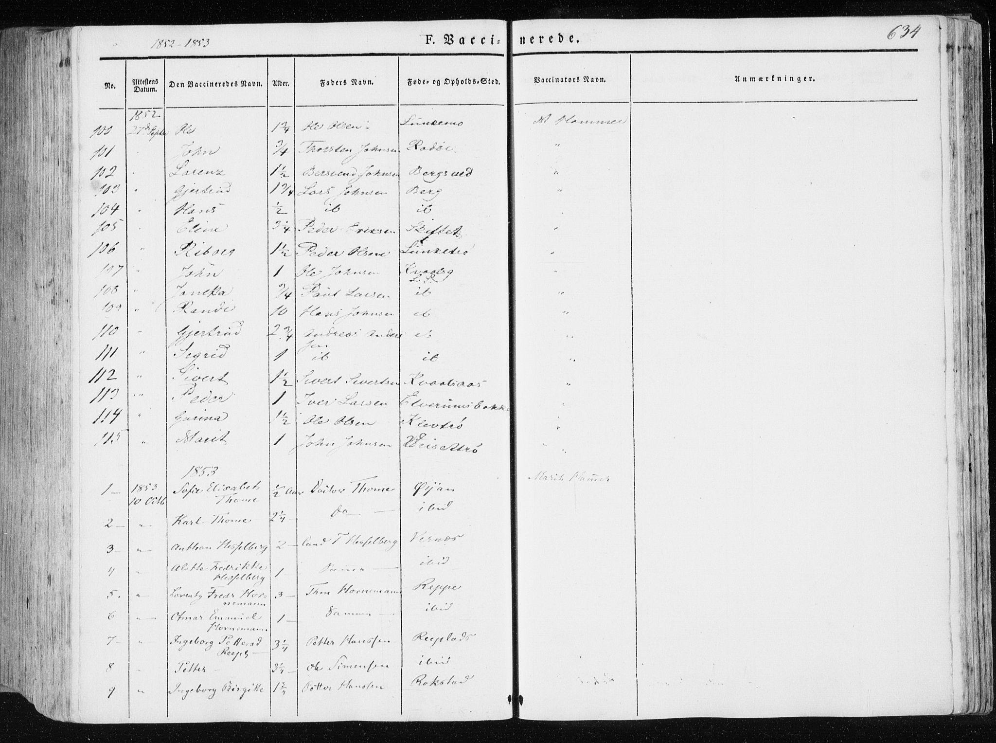 SAT, Ministerialprotokoller, klokkerbøker og fødselsregistre - Nord-Trøndelag, 709/L0074: Ministerialbok nr. 709A14, 1845-1858, s. 634