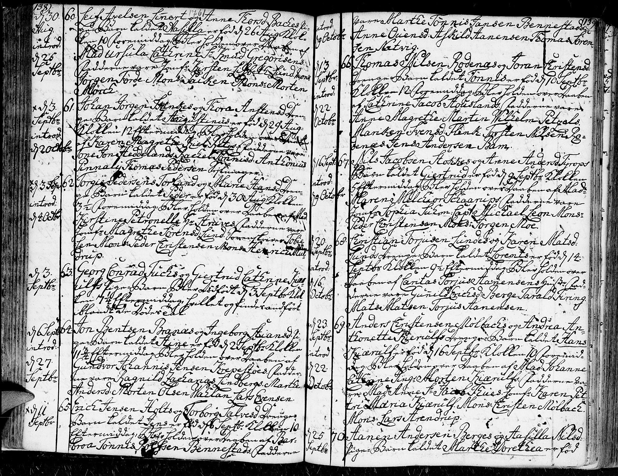 SAK, Kristiansand domprosti, F/Fa/L0002: Ministerialbok nr. A 2, 1755-1778, s. 138-139