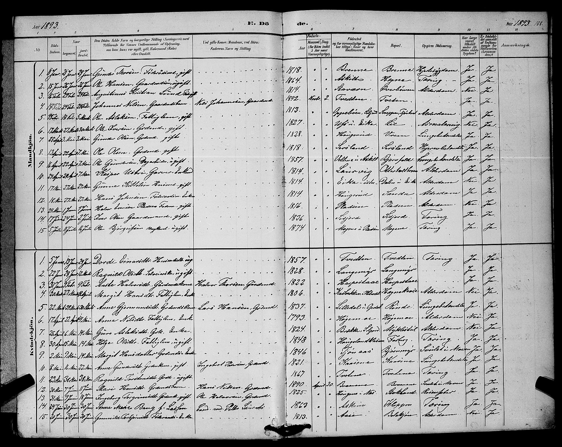SAKO, Bø kirkebøker, G/Ga/L0005: Klokkerbok nr. 5, 1883-1897, s. 188