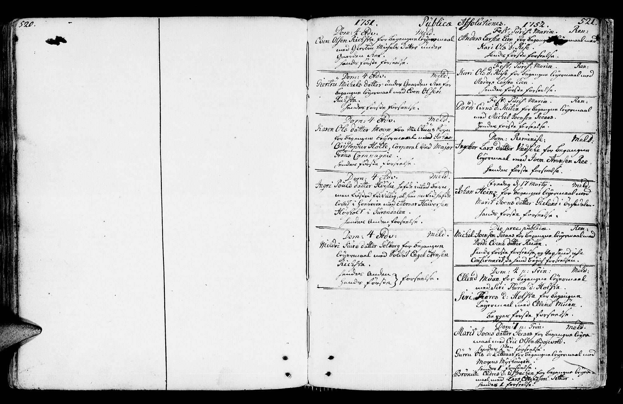 SAT, Ministerialprotokoller, klokkerbøker og fødselsregistre - Sør-Trøndelag, 672/L0851: Ministerialbok nr. 672A04, 1751-1775, s. 520-521