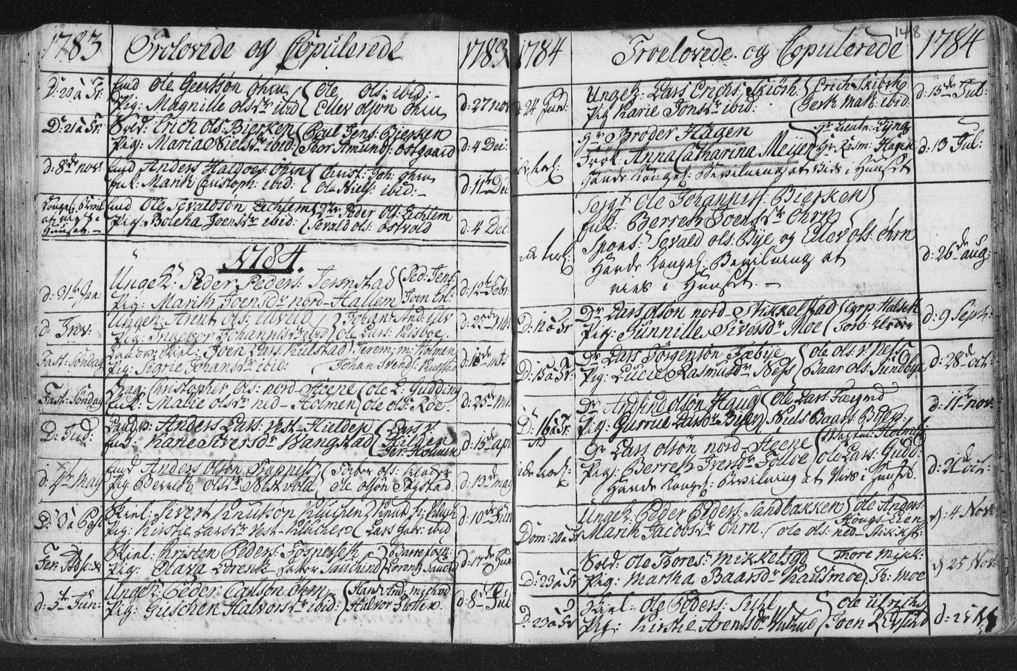 SAT, Ministerialprotokoller, klokkerbøker og fødselsregistre - Nord-Trøndelag, 723/L0232: Ministerialbok nr. 723A03, 1781-1804, s. 148