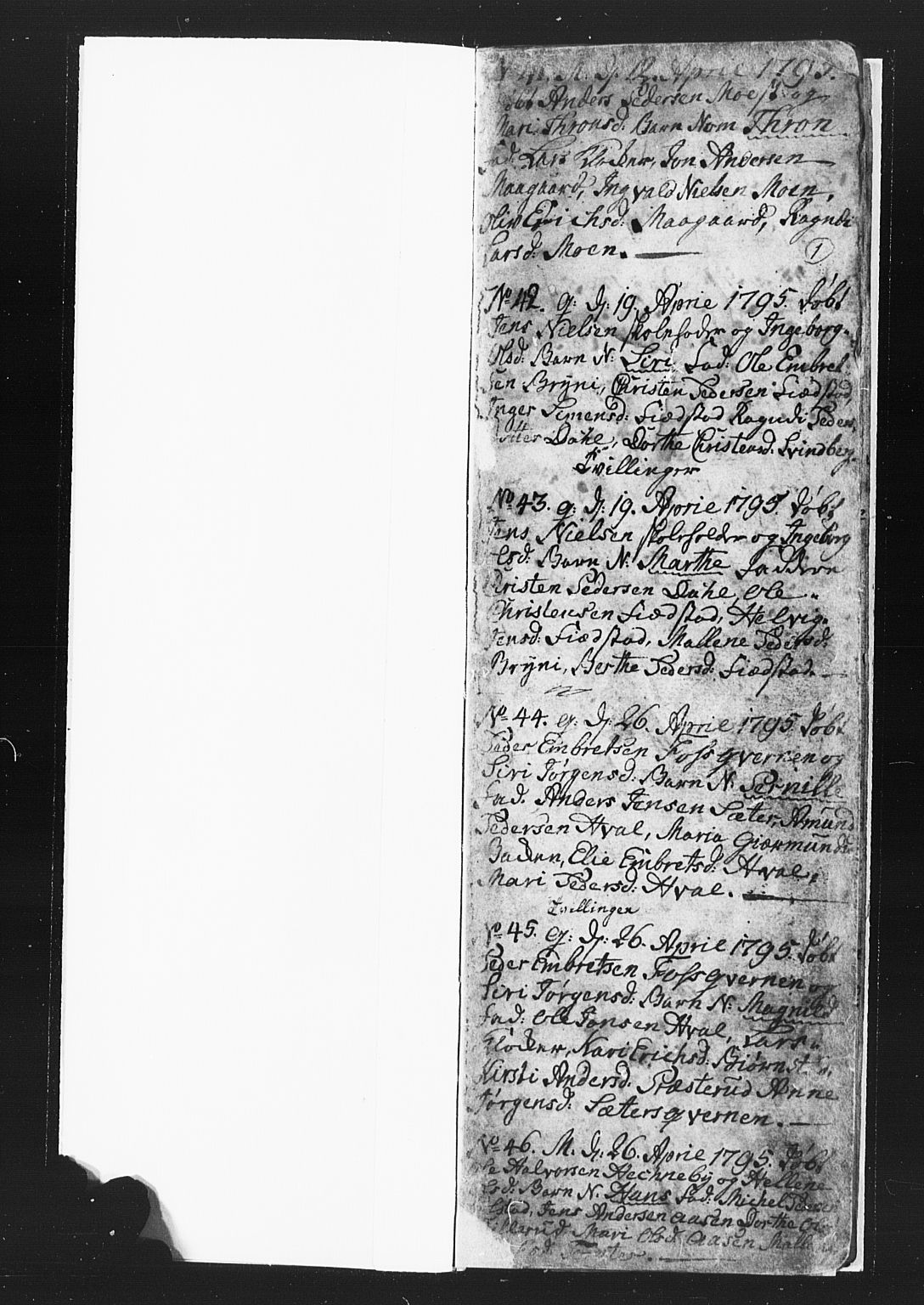 SAH, Romedal prestekontor, L/L0002: Klokkerbok nr. 2, 1795-1800, s. 0-1