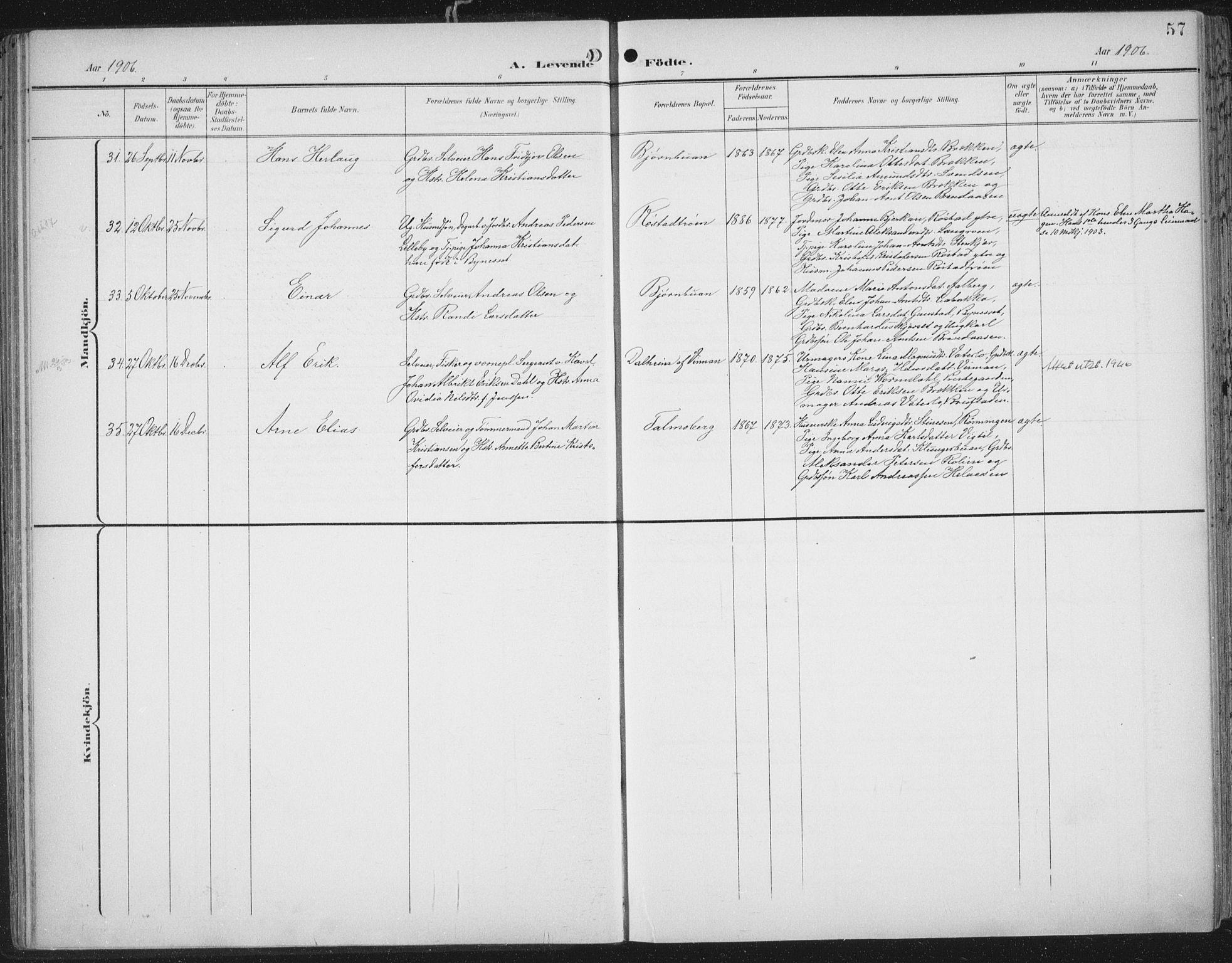 SAT, Ministerialprotokoller, klokkerbøker og fødselsregistre - Nord-Trøndelag, 701/L0011: Ministerialbok nr. 701A11, 1899-1915, s. 57