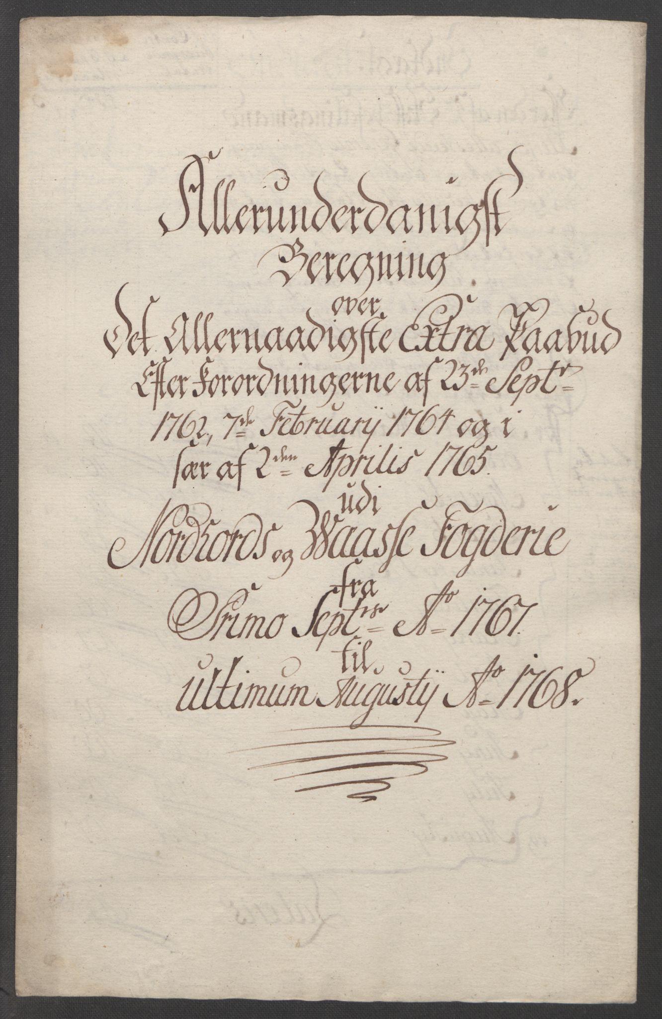 RA, Rentekammeret inntil 1814, Reviderte regnskaper, Fogderegnskap, R51/L3303: Ekstraskatten Nordhordland og Voss, 1762-1772, s. 178
