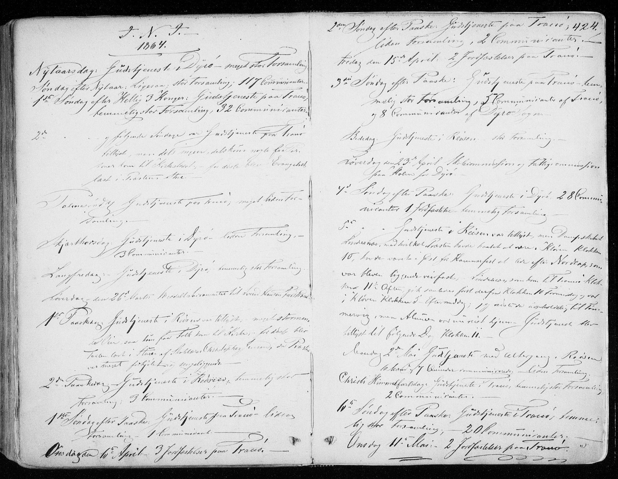 SATØ, Tranøy sokneprestkontor, I/Ia/Iaa/L0007kirke: Ministerialbok nr. 7, 1856-1866, s. 424