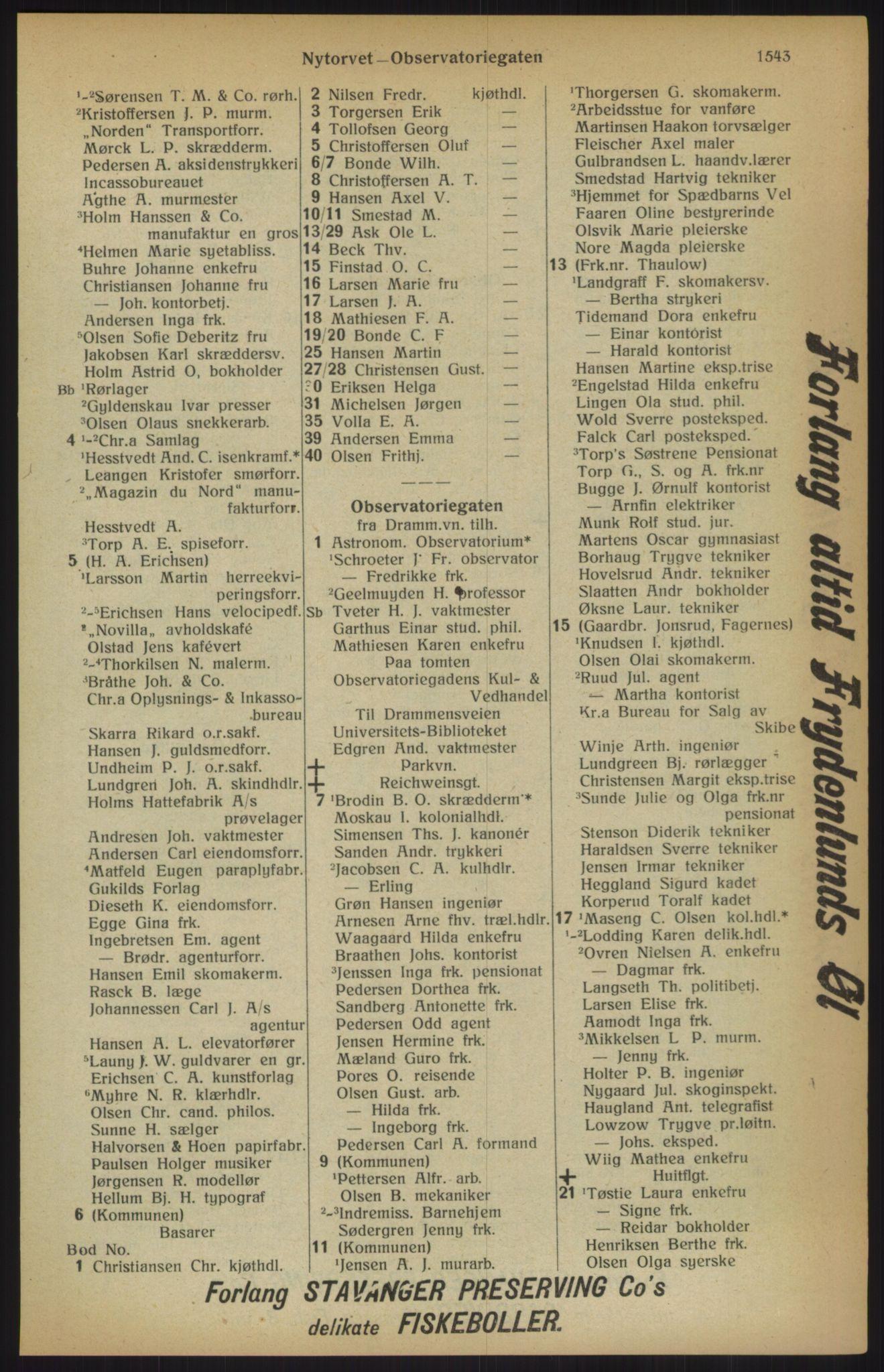 RA, Kristiania adressebok (publikasjon)*, 1915, s. 1543