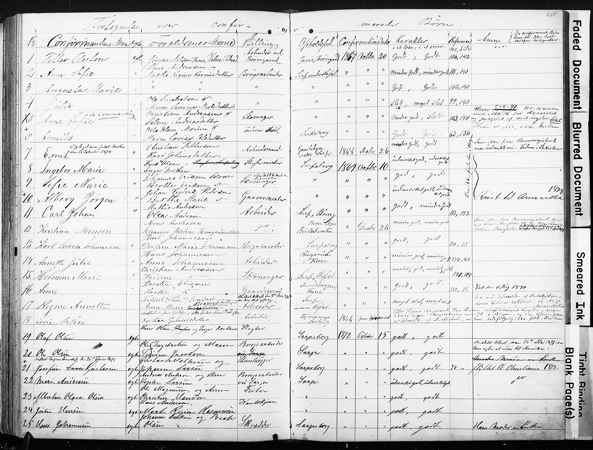 SAO, Sarpsborg metodistkirke, A/L0001: Dissenterprotokoll nr. 1, 1856-1875, s. 251