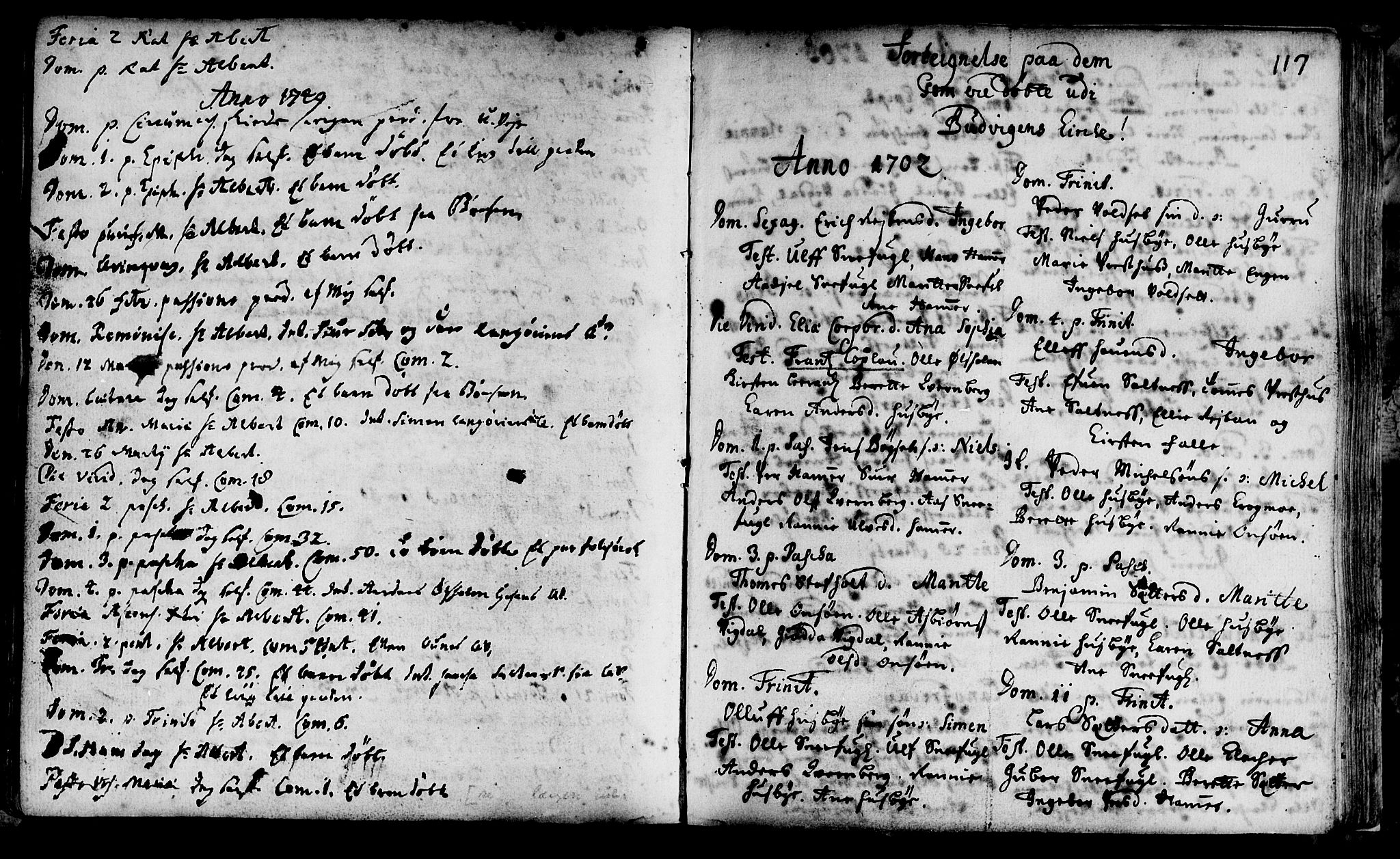 SAT, Ministerialprotokoller, klokkerbøker og fødselsregistre - Sør-Trøndelag, 666/L0783: Ministerialbok nr. 666A01, 1702-1753, s. 117
