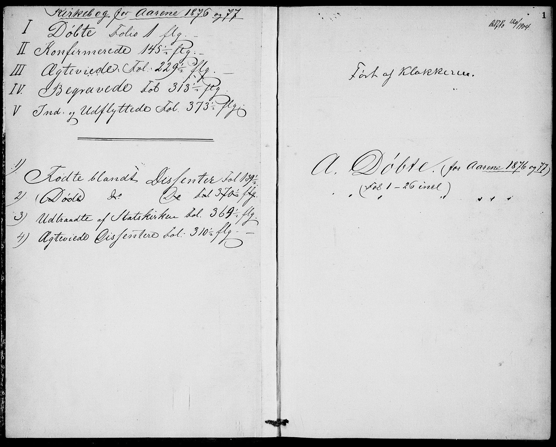 SAKO, Bamble kirkebøker, G/Ga/L0007: Klokkerbok nr. I 7, 1876-1877, s. 1