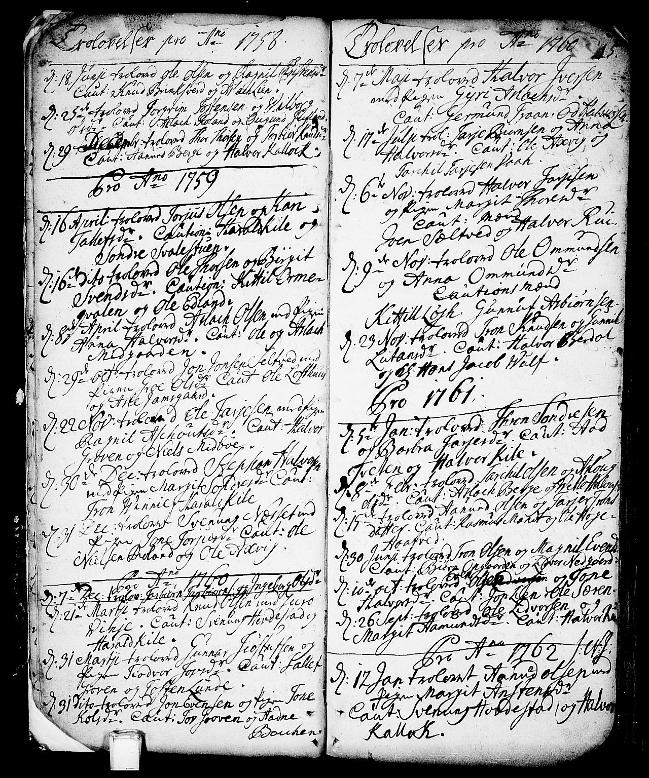 SAKO, Vinje kirkebøker, F/Fa/L0001: Ministerialbok nr. I 1, 1717-1766, s. 15
