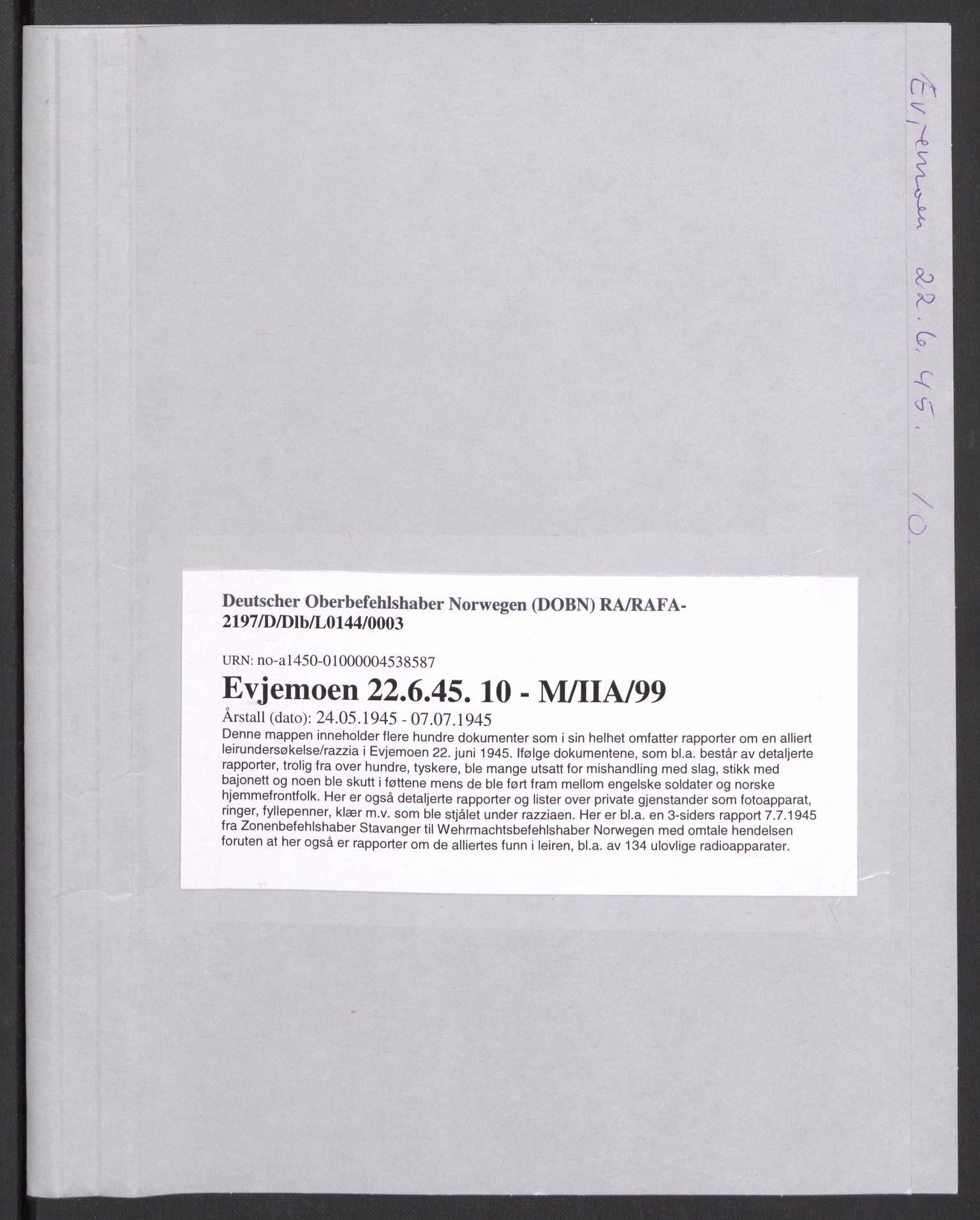 RA, Deutscher Oberbefehlshaber Norwegen (DOBN), D/Dlb/L0144: Heer. U.A. Kr.sand. Zone Stavanger. Nr. 32 Reservation Evjemoen (Ic, Id, IIIa III), 1945
