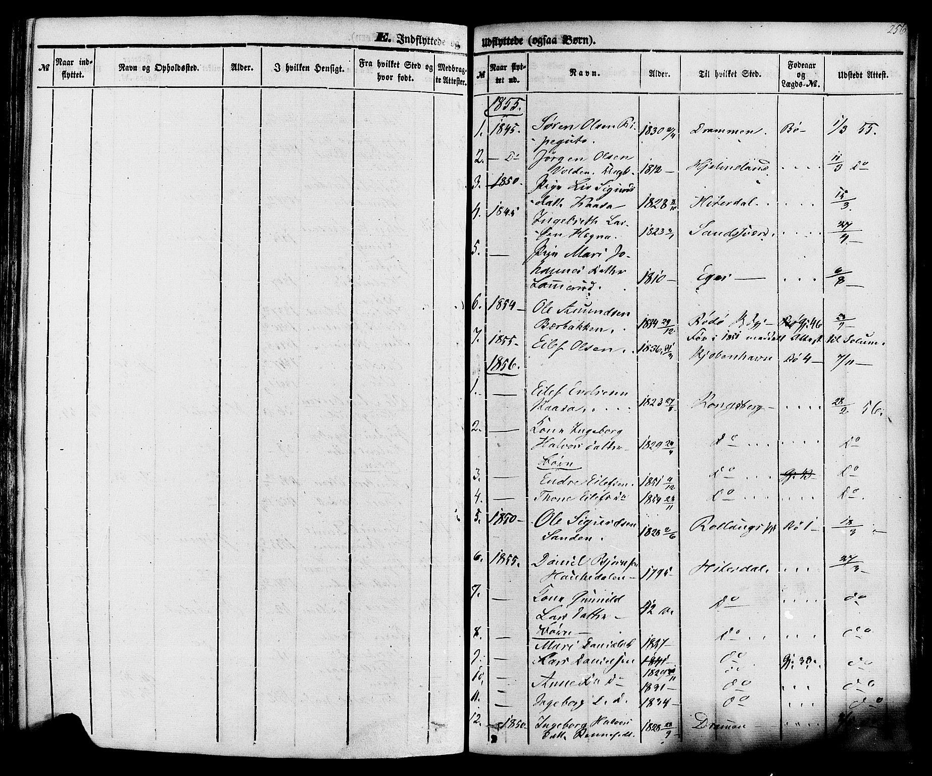 SAKO, Sauherad kirkebøker, F/Fa/L0007: Ministerialbok nr. I 7, 1851-1873, s. 256