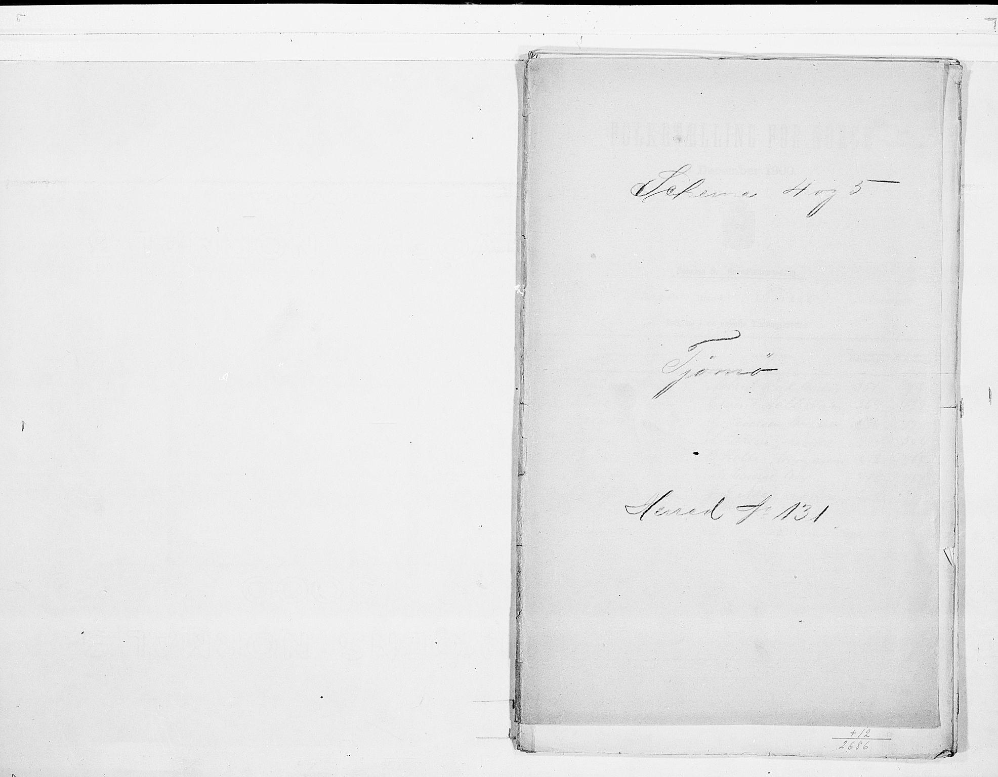 RA, Folketelling 1900 for 0723 Tjøme herred, 1900, s. 1
