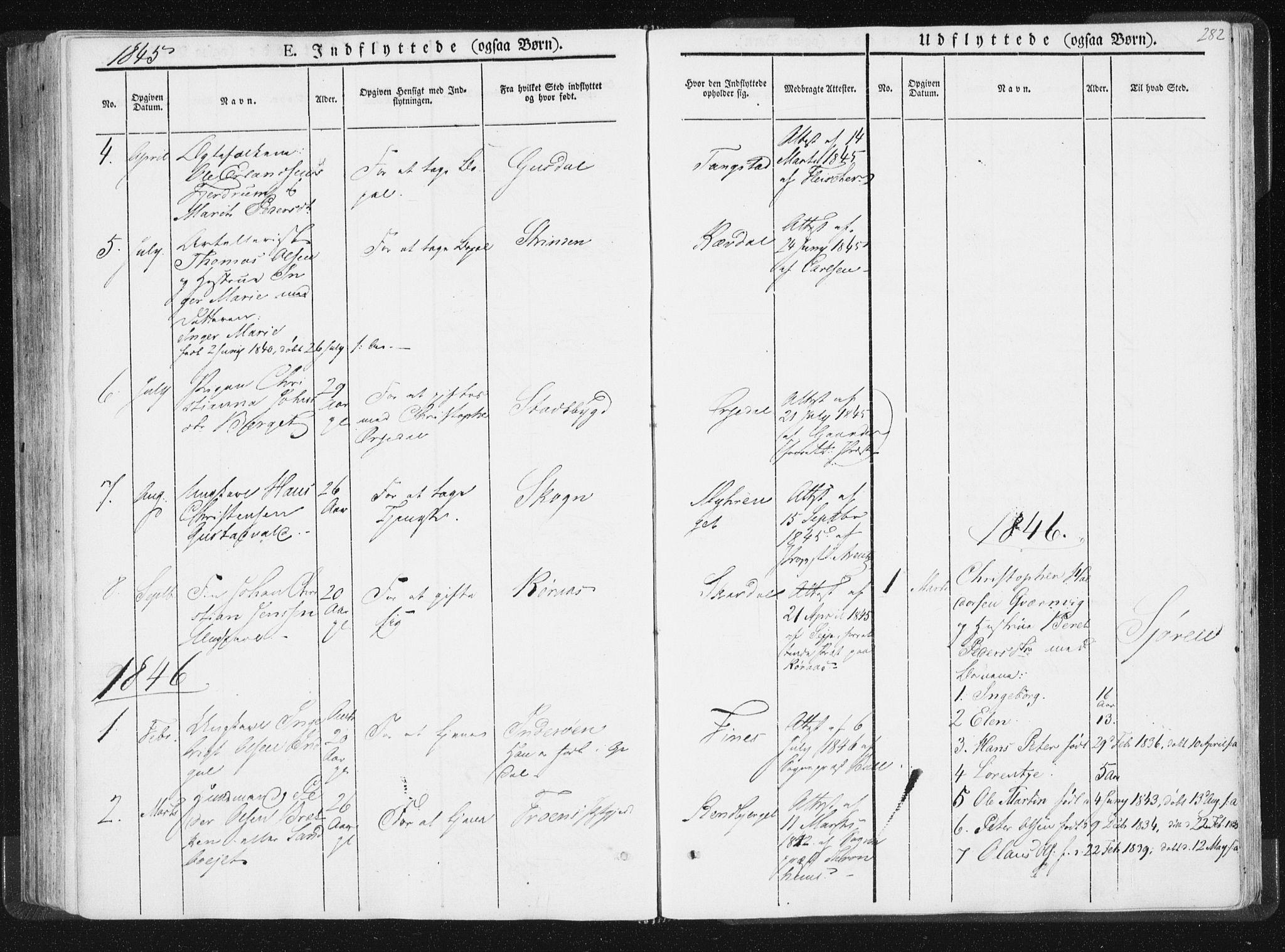 SAT, Ministerialprotokoller, klokkerbøker og fødselsregistre - Nord-Trøndelag, 744/L0418: Ministerialbok nr. 744A02, 1843-1866, s. 282