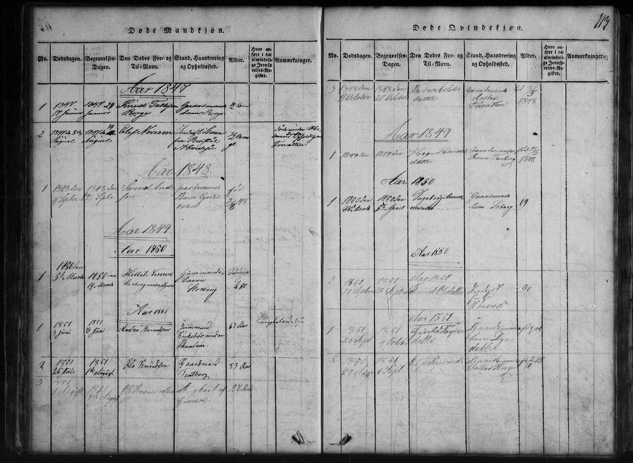 SAKO, Rauland kirkebøker, G/Gb/L0001: Klokkerbok nr. II 1, 1815-1886, s. 113