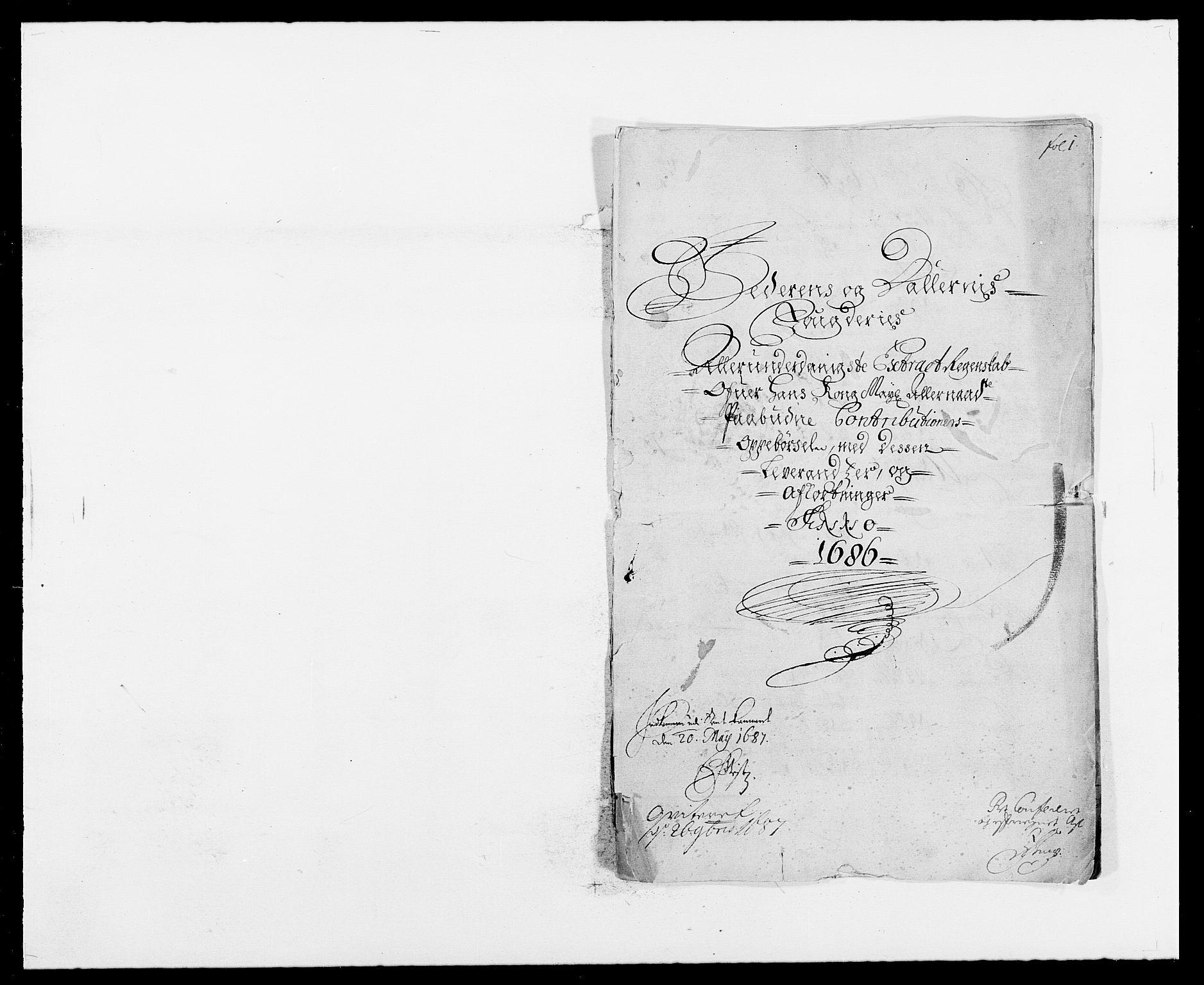 RA, Rentekammeret inntil 1814, Reviderte regnskaper, Fogderegnskap, R46/L2726: Fogderegnskap Jæren og Dalane, 1686-1689, s. 1