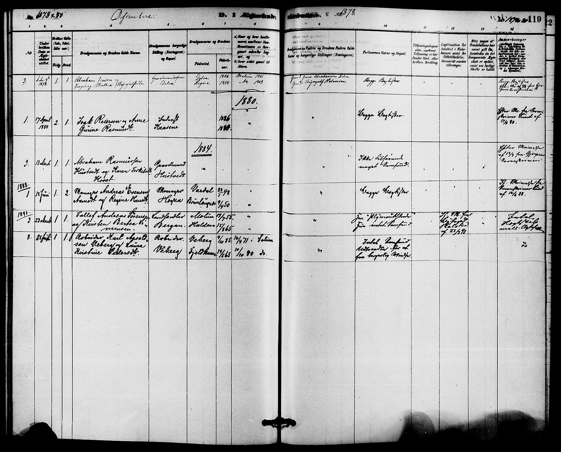 SAKO, Solum kirkebøker, F/Fb/L0001: Ministerialbok nr. II 1, 1877-1892, s. 119