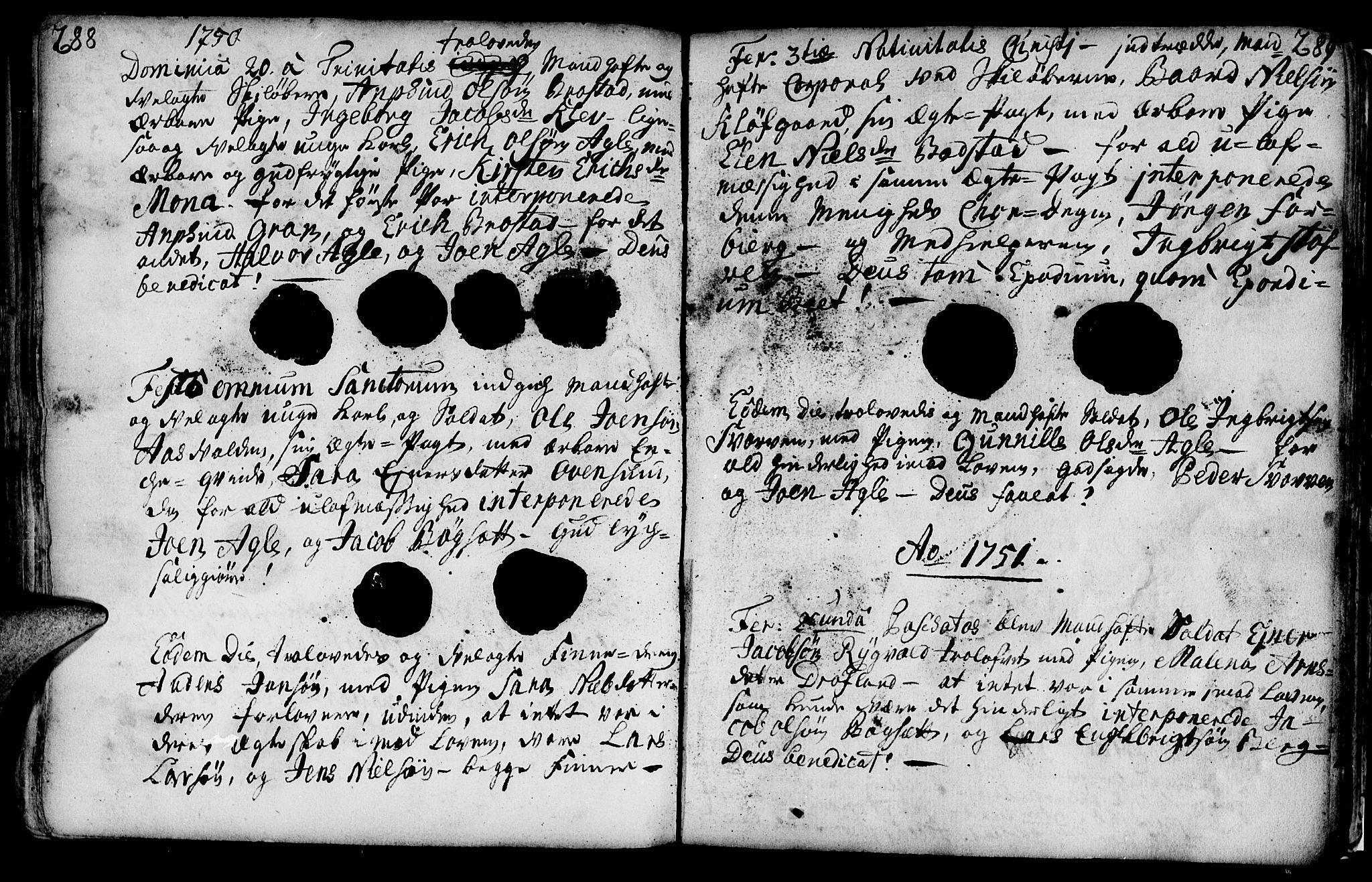 SAT, Ministerialprotokoller, klokkerbøker og fødselsregistre - Nord-Trøndelag, 749/L0467: Ministerialbok nr. 749A01, 1733-1787, s. 288-289