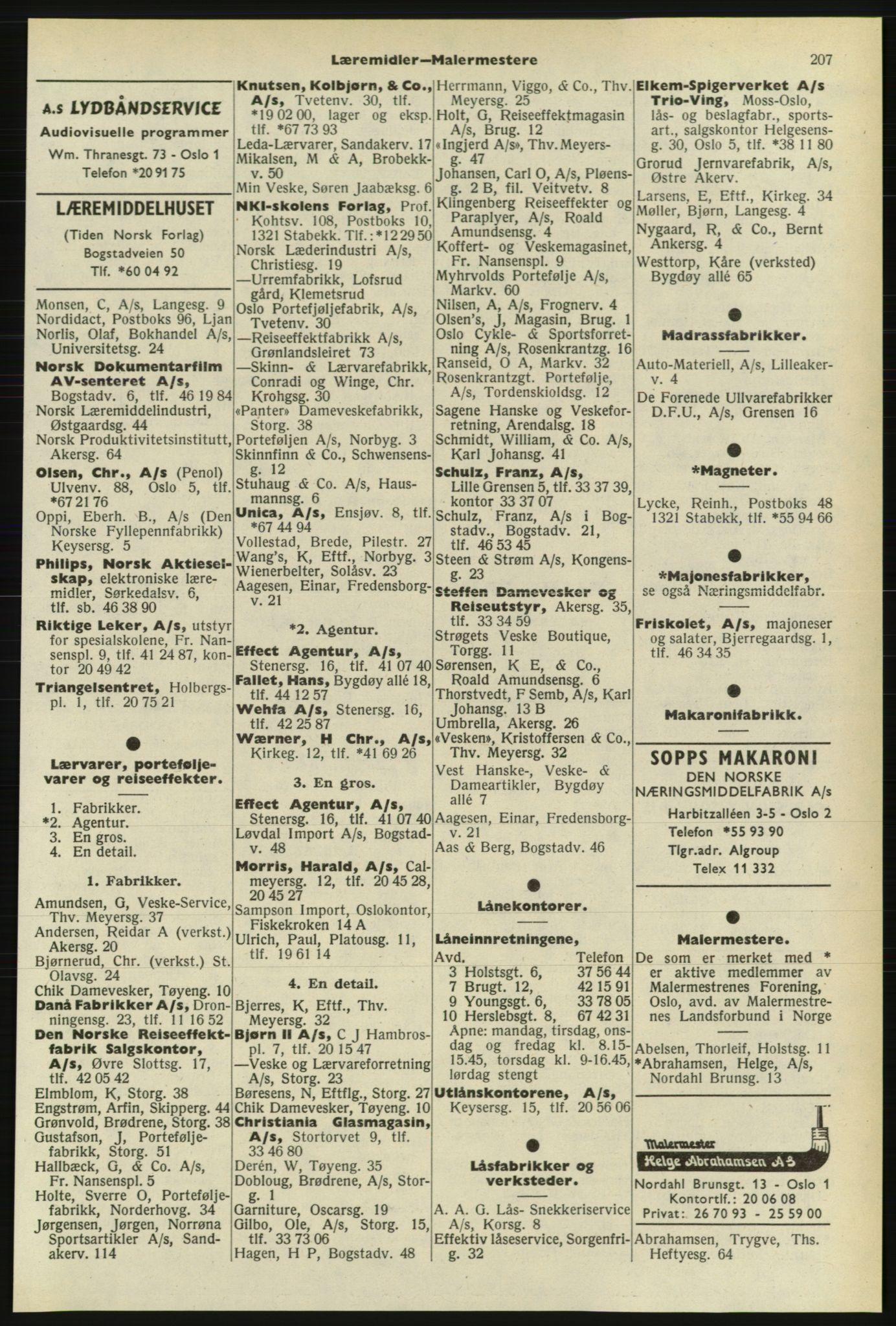 PUBL, Kristiania/Oslo adressebok, 1974-1975, s. 207