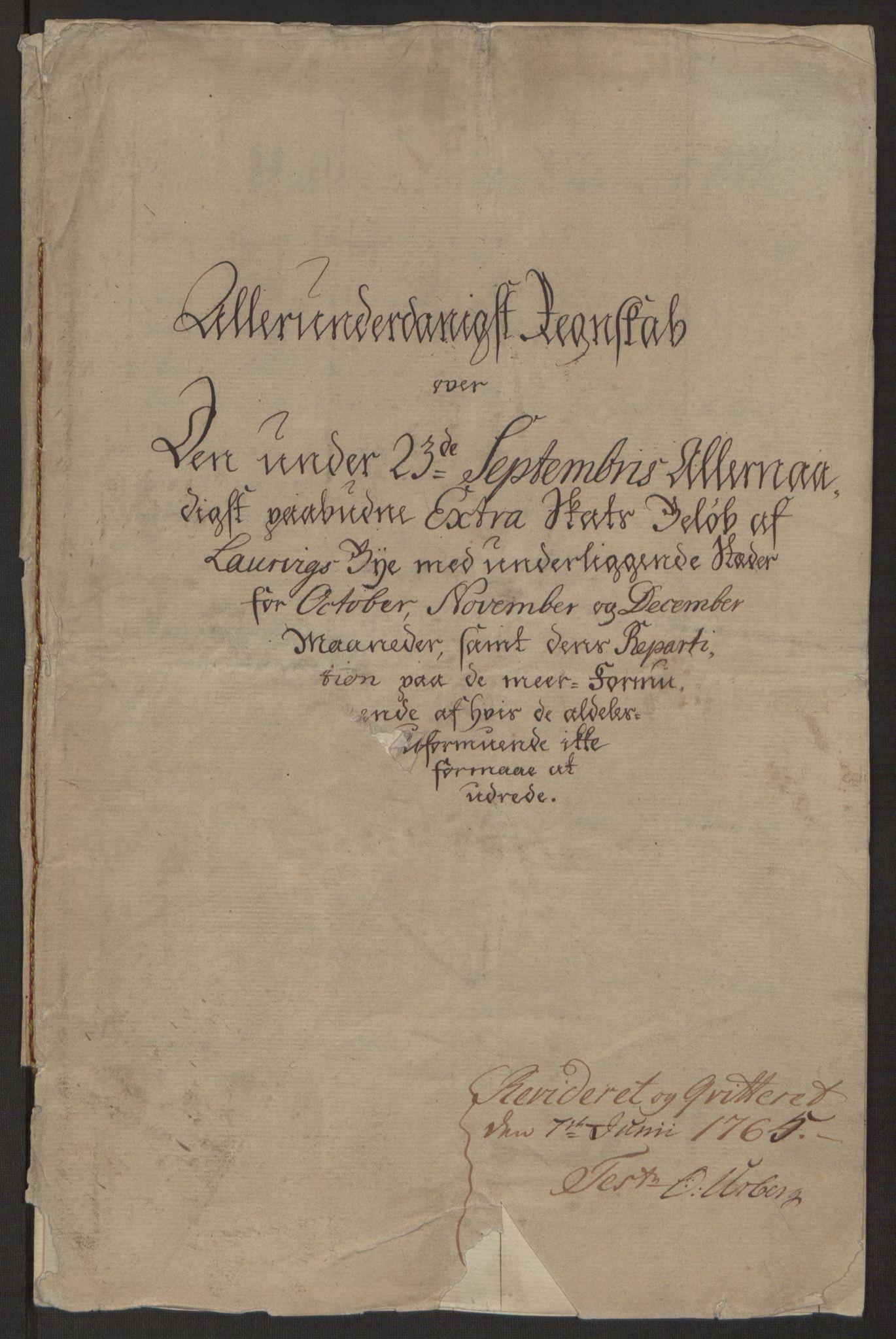 RA, Rentekammeret inntil 1814, Reviderte regnskaper, Byregnskaper, R/Ri/L0183: [I4] Kontribusjonsregnskap, 1762-1768, s. 4