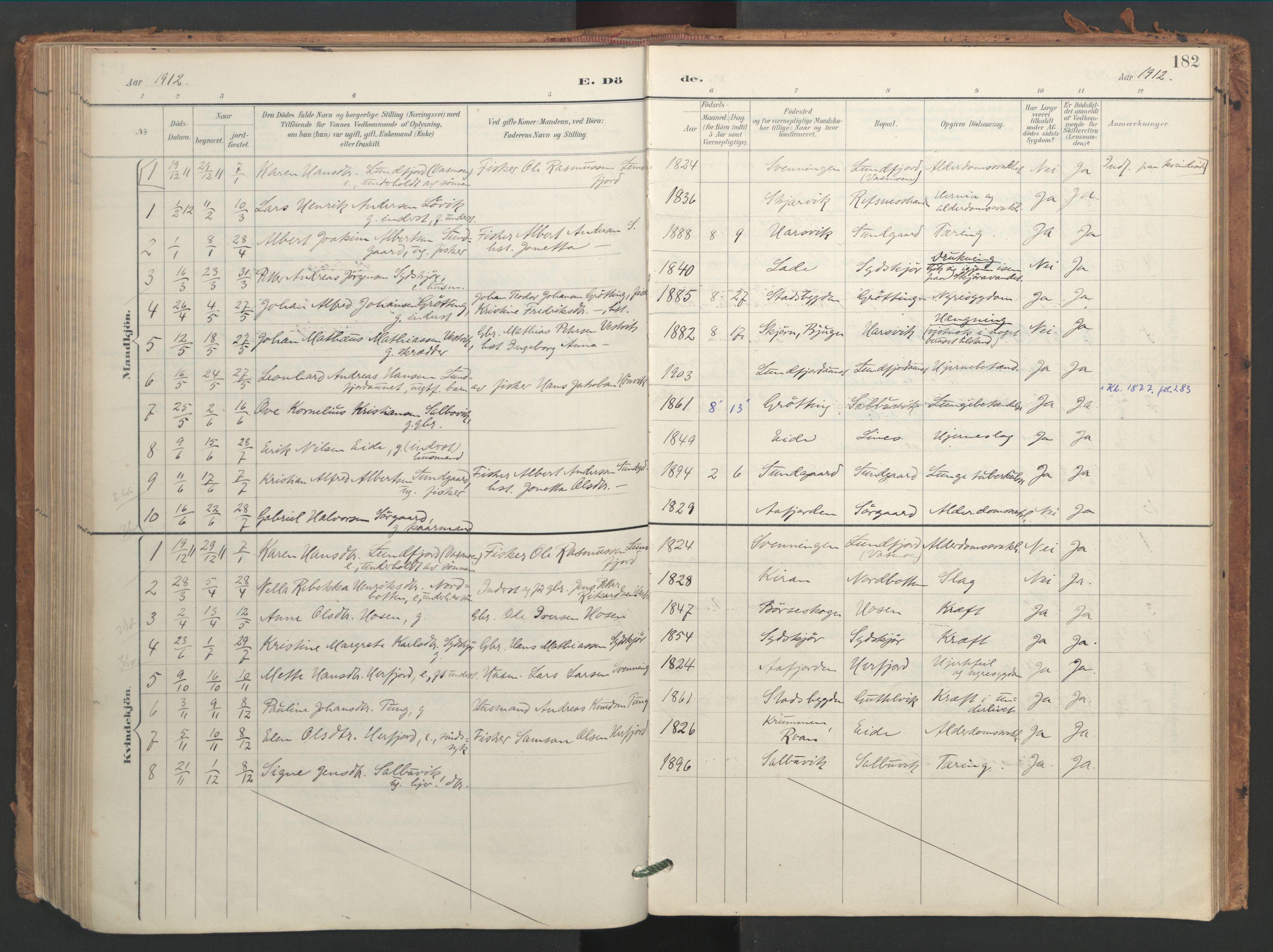 SAT, Ministerialprotokoller, klokkerbøker og fødselsregistre - Sør-Trøndelag, 656/L0693: Ministerialbok nr. 656A02, 1894-1913, s. 182