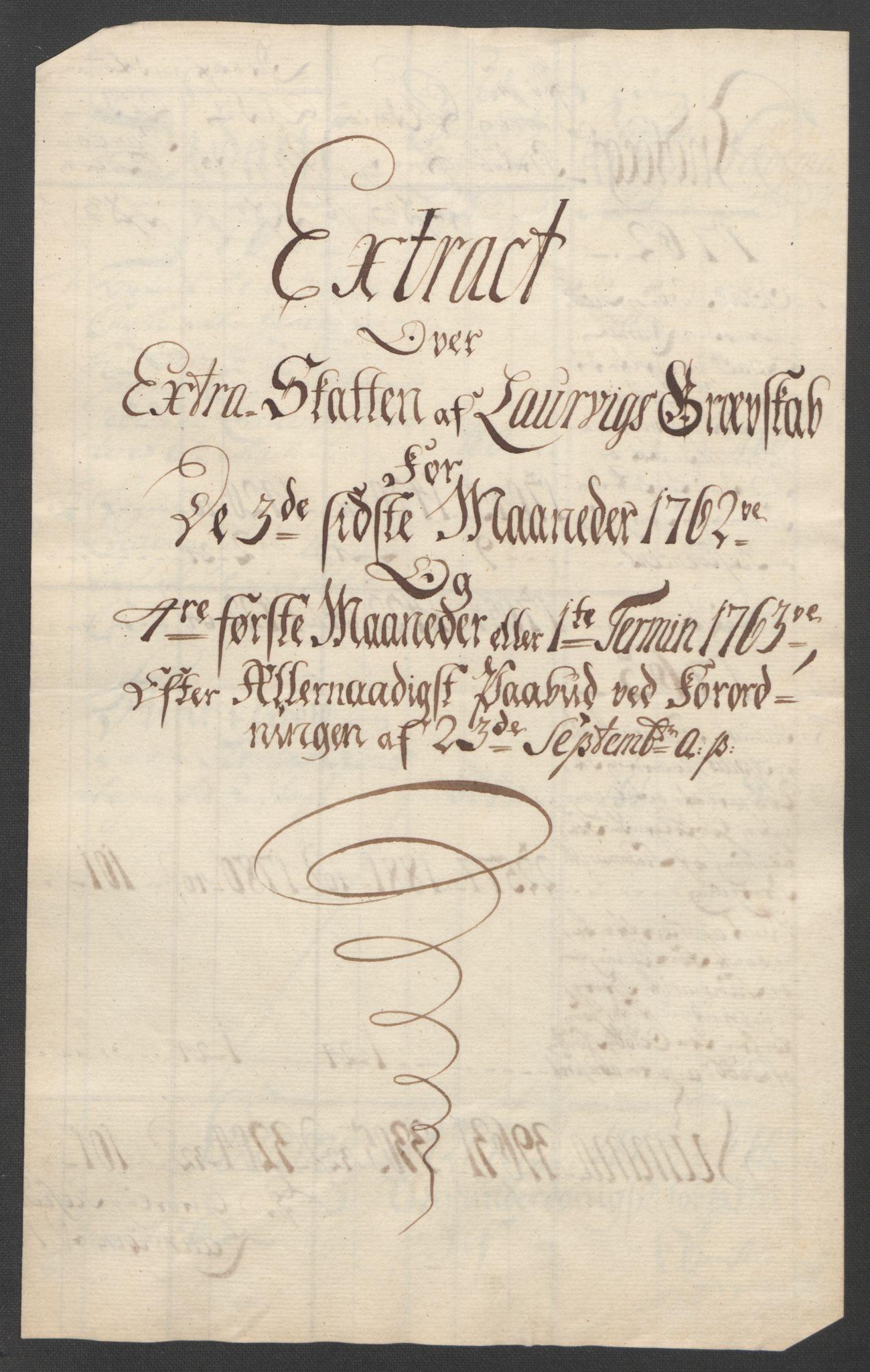 RA, Rentekammeret inntil 1814, Reviderte regnskaper, Fogderegnskap, R33/L2033: Ekstraskatten Larvik grevskap, 1762-1764, s. 388