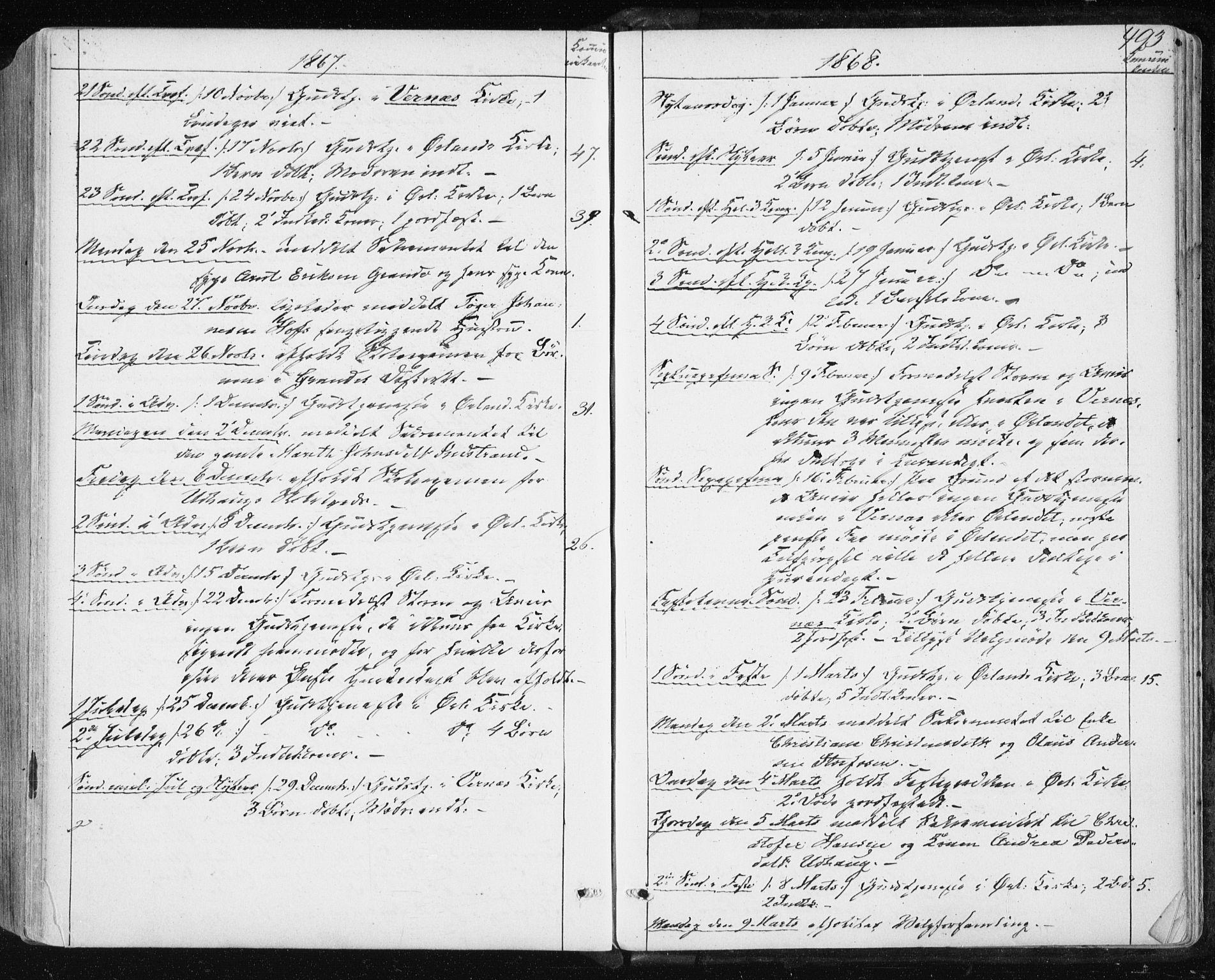 SAT, Ministerialprotokoller, klokkerbøker og fødselsregistre - Sør-Trøndelag, 659/L0737: Ministerialbok nr. 659A07, 1857-1875, s. 493