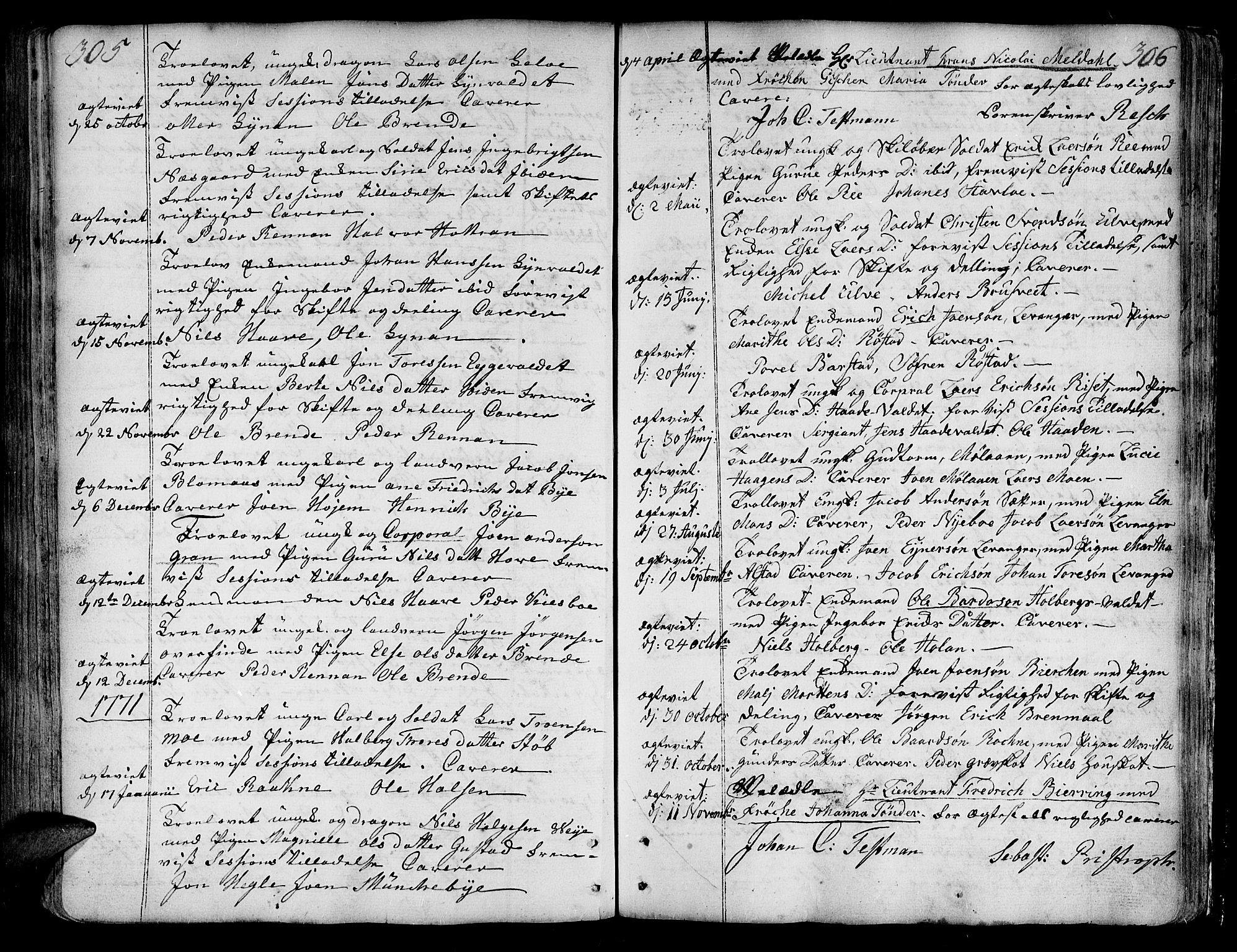 SAT, Ministerialprotokoller, klokkerbøker og fødselsregistre - Nord-Trøndelag, 717/L0141: Ministerialbok nr. 717A01, 1747-1803, s. 305-306