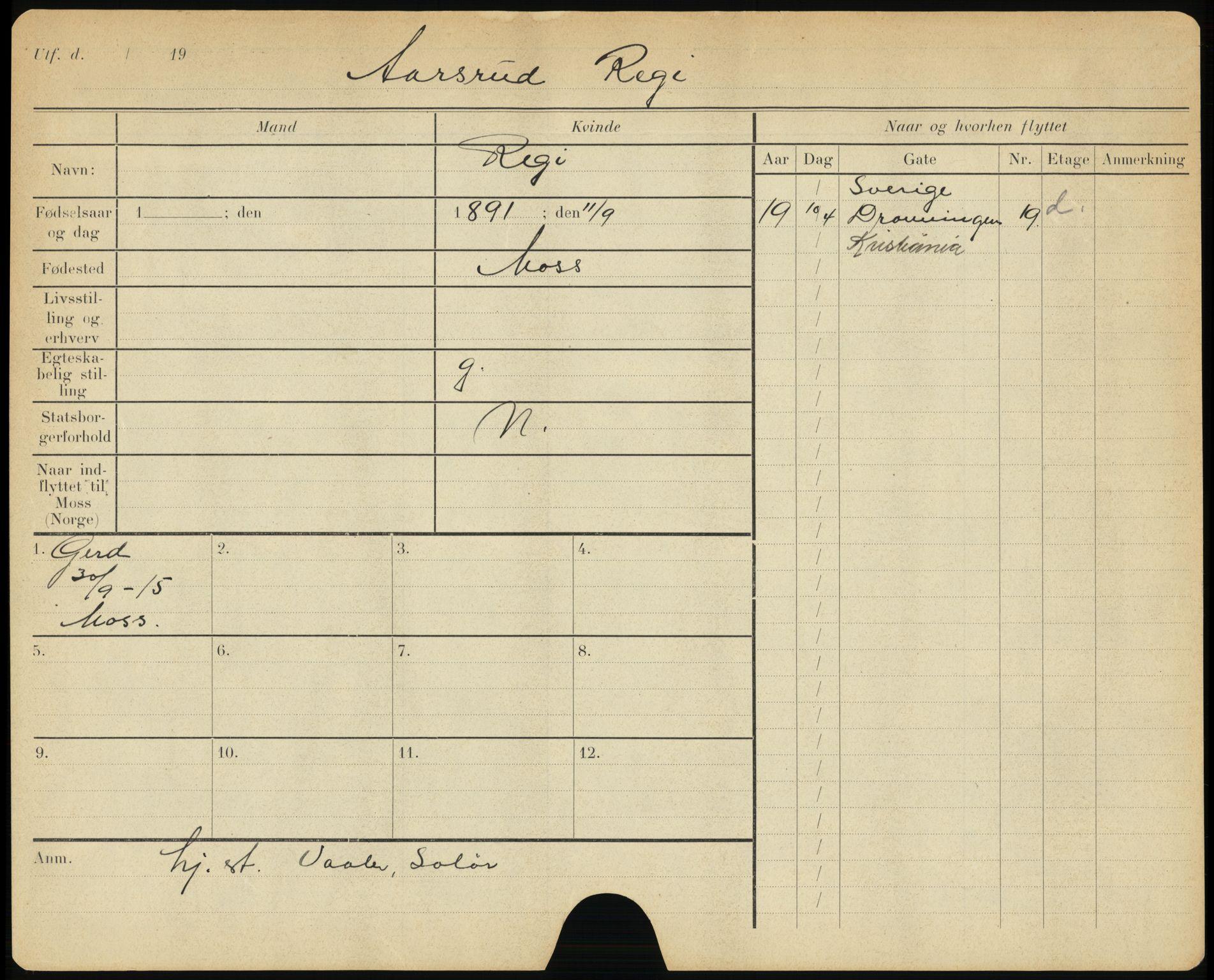 SAO, Moss folkeregister, F/L0004: Utflyttede, 1919-1920