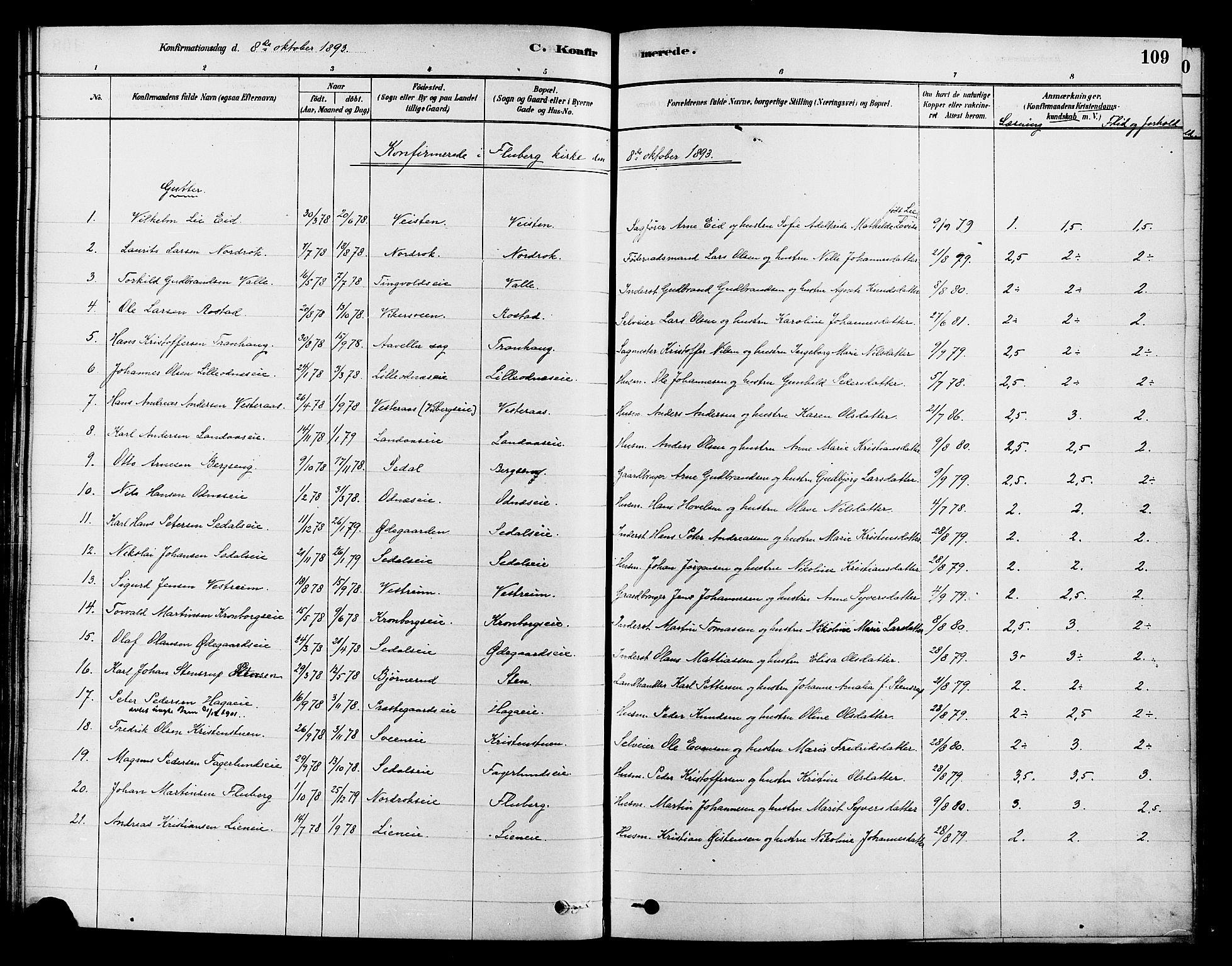 SAH, Søndre Land prestekontor, K/L0002: Ministerialbok nr. 2, 1878-1894, s. 109