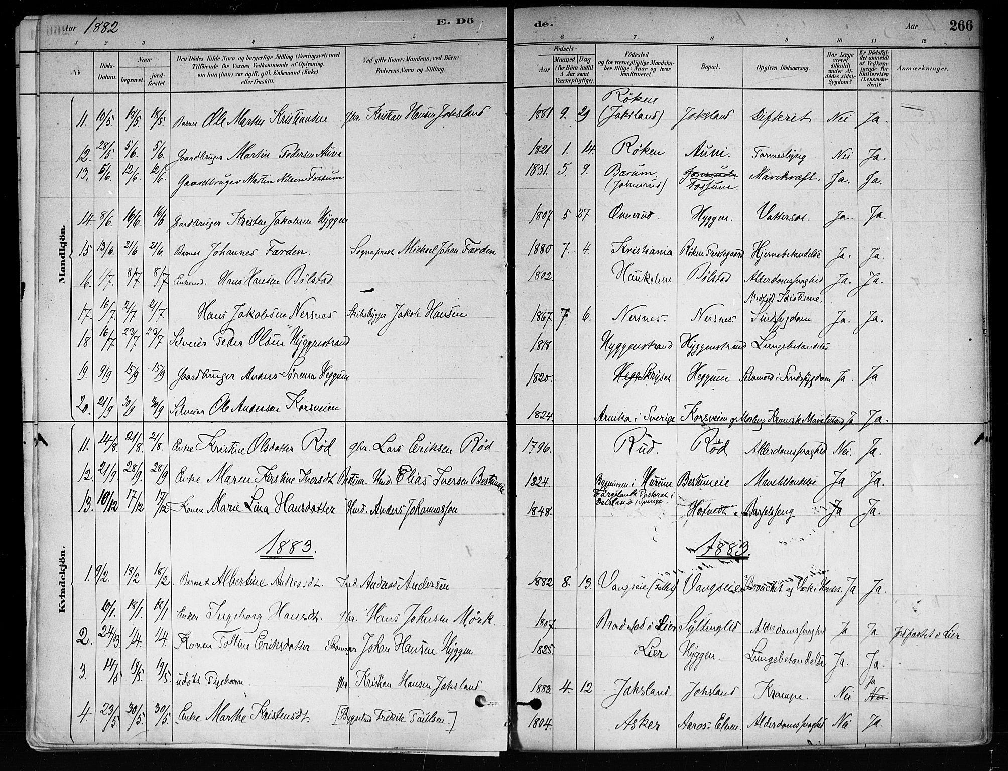 SAKO, Røyken kirkebøker, F/Fa/L0008: Ministerialbok nr. 8, 1880-1897, s. 266