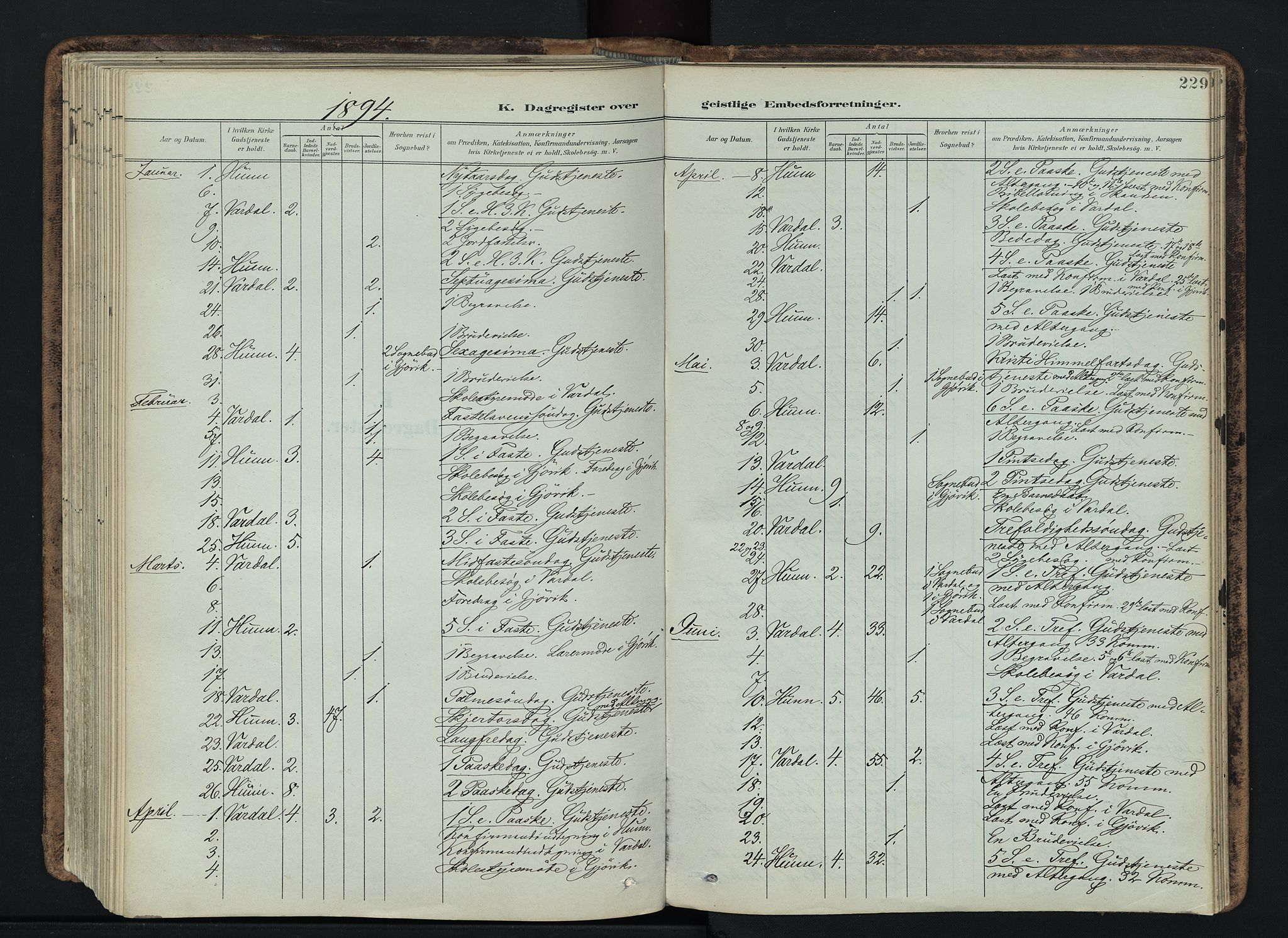 SAH, Vardal prestekontor, H/Ha/Haa/L0019: Ministerialbok nr. 19, 1893-1907, s. 229