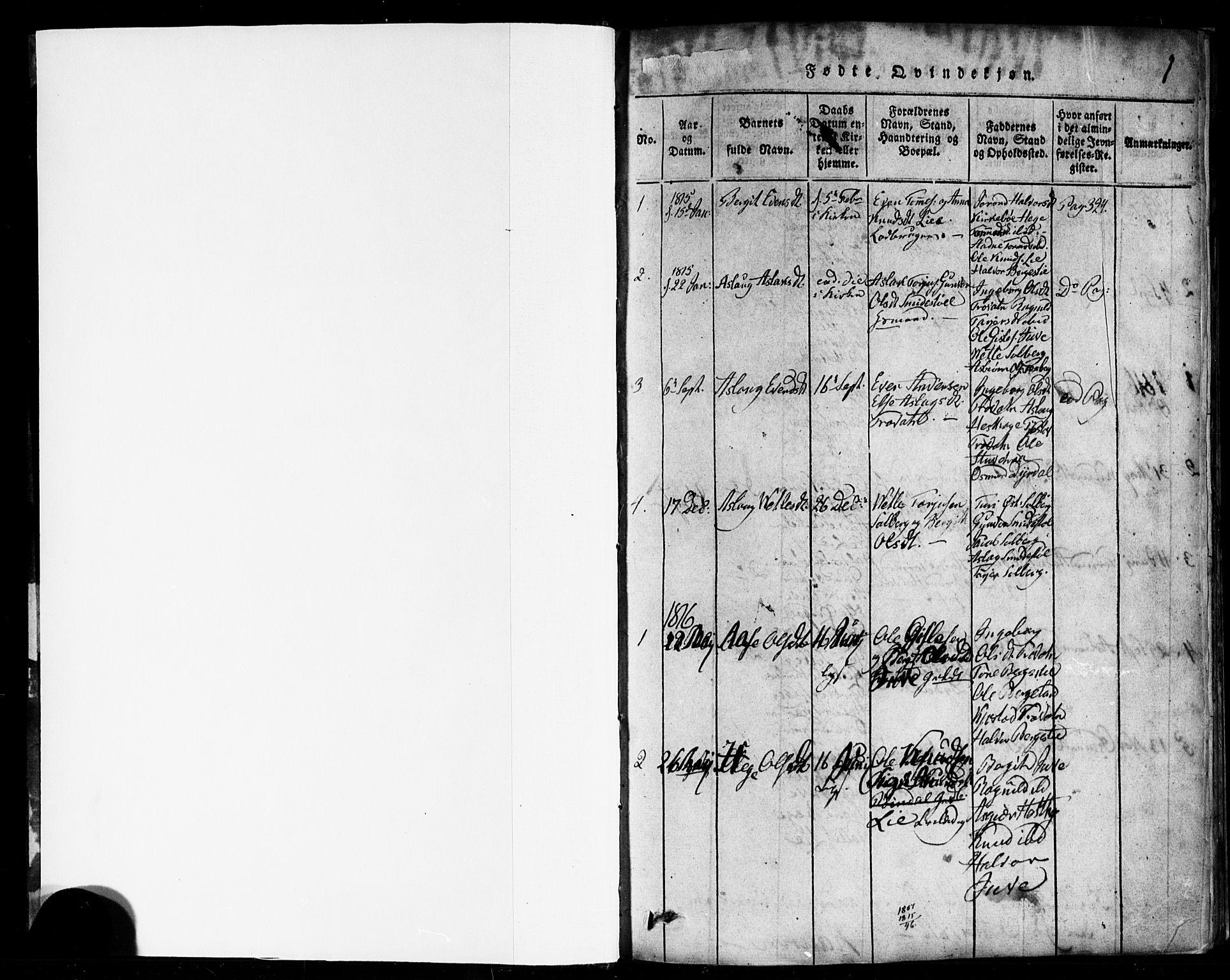 SAKO, Rauland kirkebøker, F/Fa/L0002: Ministerialbok nr. 2, 1815-1860, s. 1