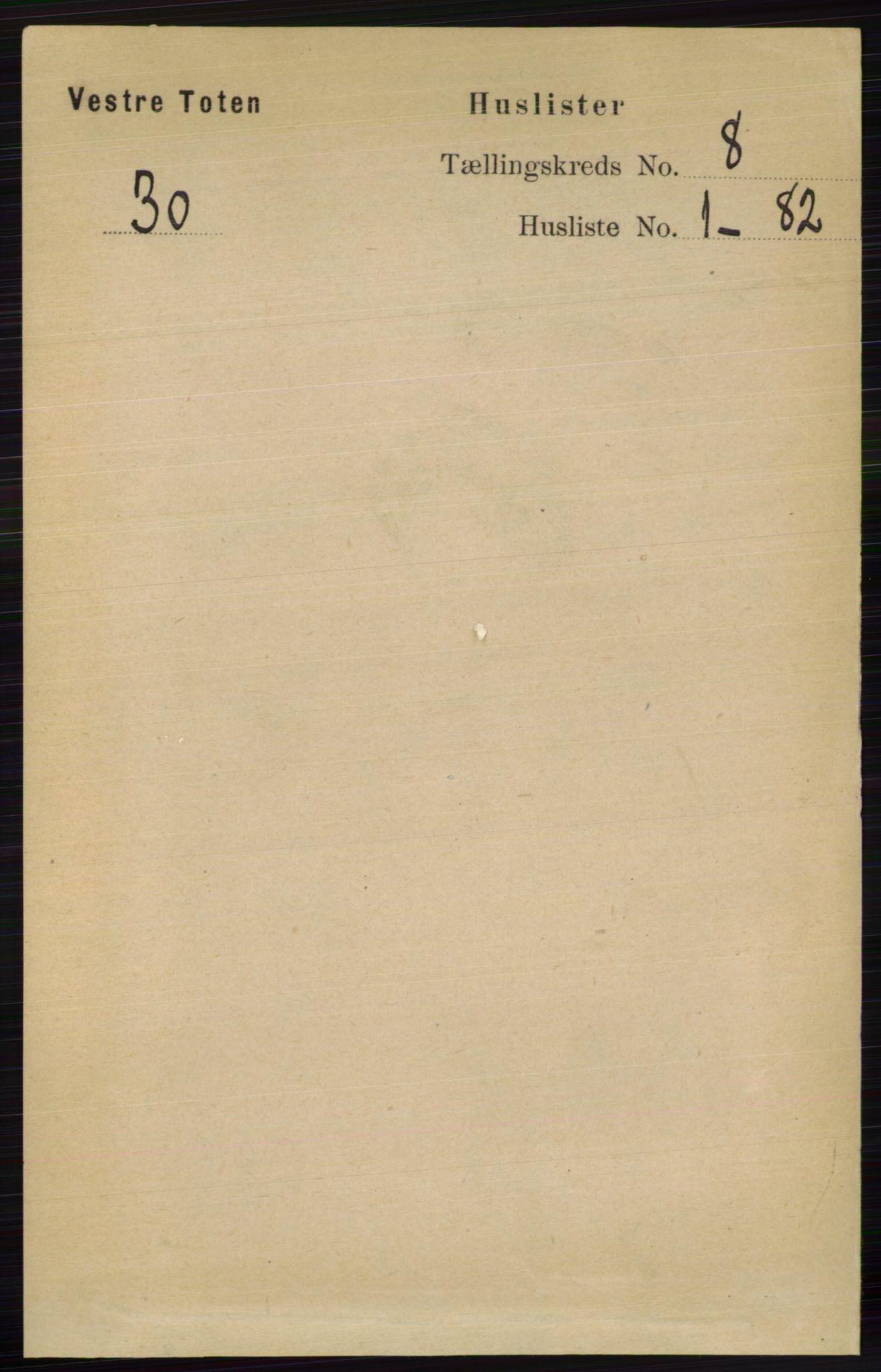RA, Folketelling 1891 for 0529 Vestre Toten herred, 1891, s. 4913