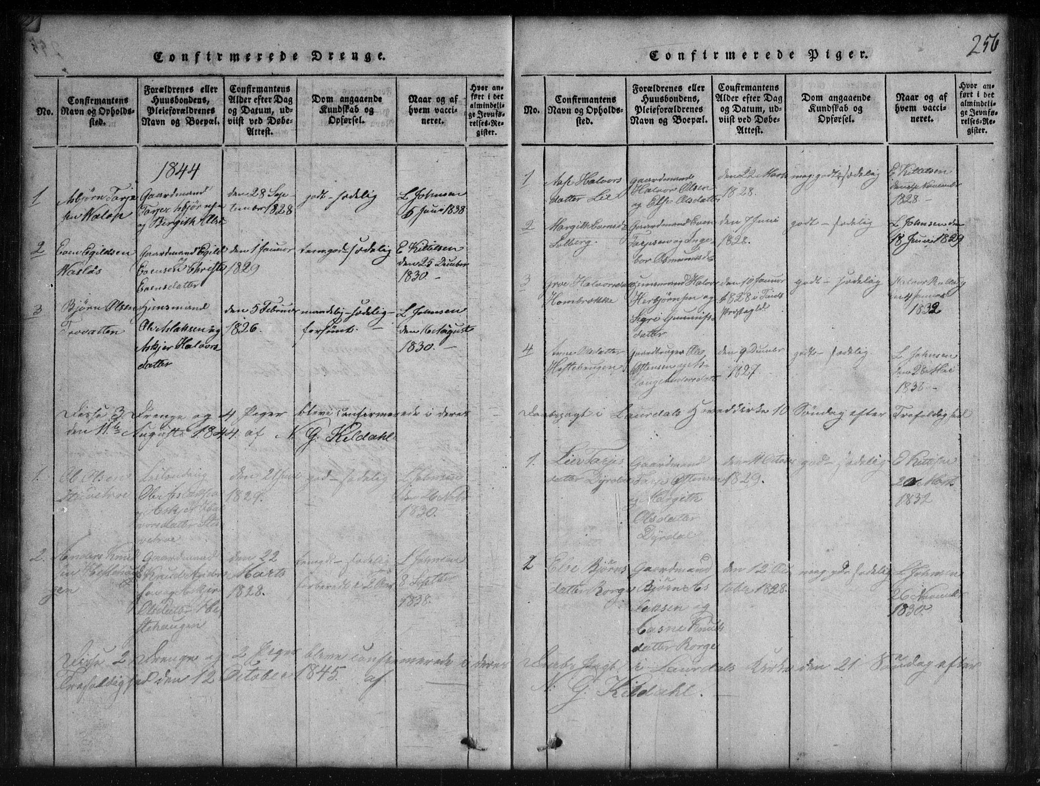 SAKO, Rauland kirkebøker, G/Gb/L0001: Klokkerbok nr. II 1, 1815-1886, s. 256