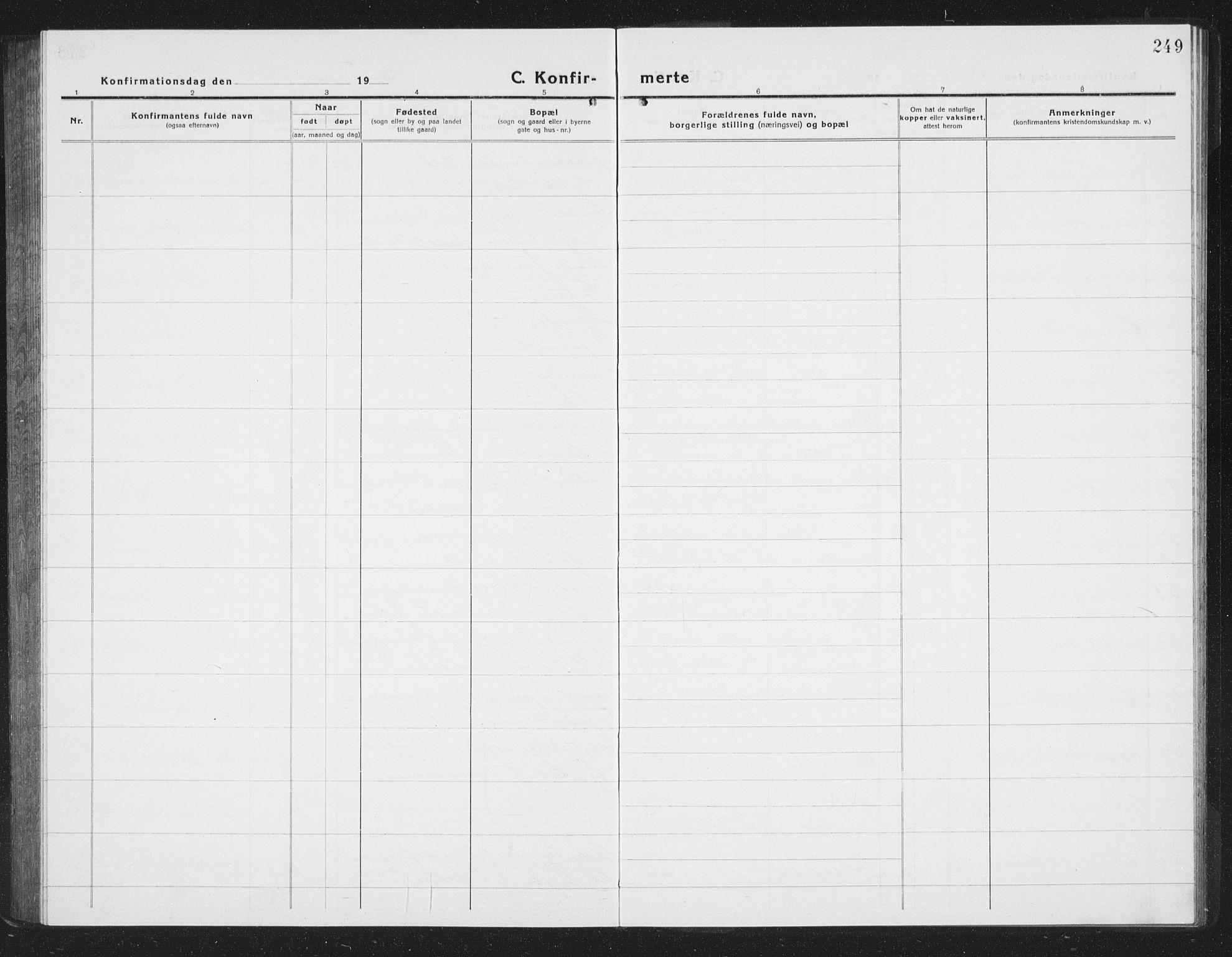 SAT, Ministerialprotokoller, klokkerbøker og fødselsregistre - Sør-Trøndelag, 605/L0258: Klokkerbok nr. 605C05, 1918-1930, s. 249