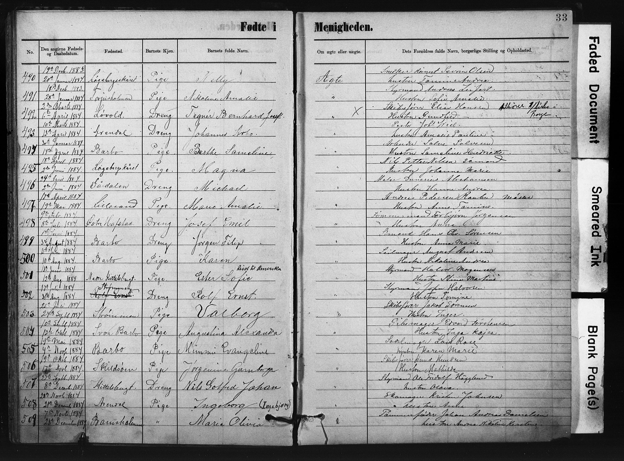 SAK, Metodistmenigheten, Arendal, F/Fa/L0004: Dissenterprotokoll nr. F-4, 1883-1892, s. 33