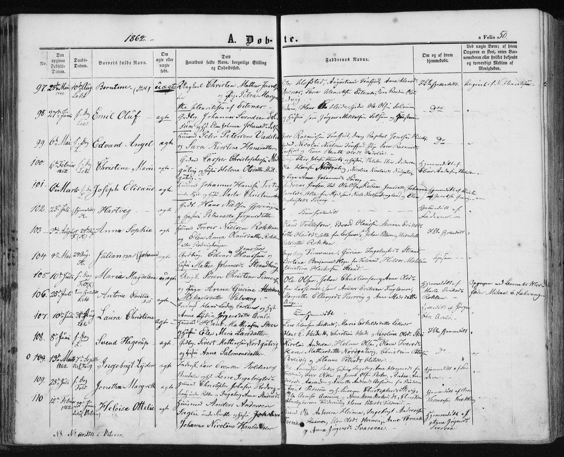 SAT, Ministerialprotokoller, klokkerbøker og fødselsregistre - Nord-Trøndelag, 780/L0641: Ministerialbok nr. 780A06, 1857-1874, s. 50