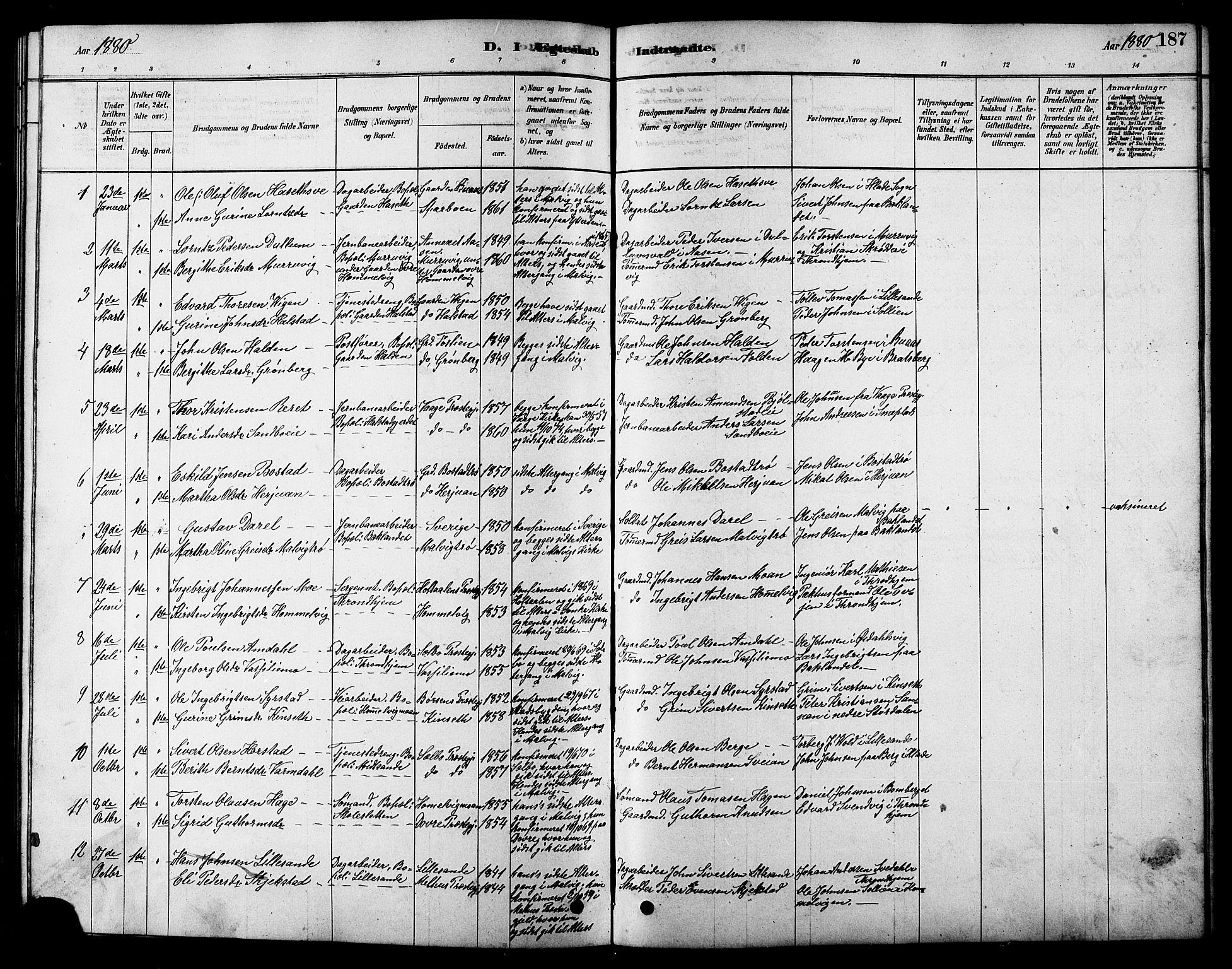 SAT, Ministerialprotokoller, klokkerbøker og fødselsregistre - Sør-Trøndelag, 616/L0423: Klokkerbok nr. 616C06, 1878-1903, s. 187