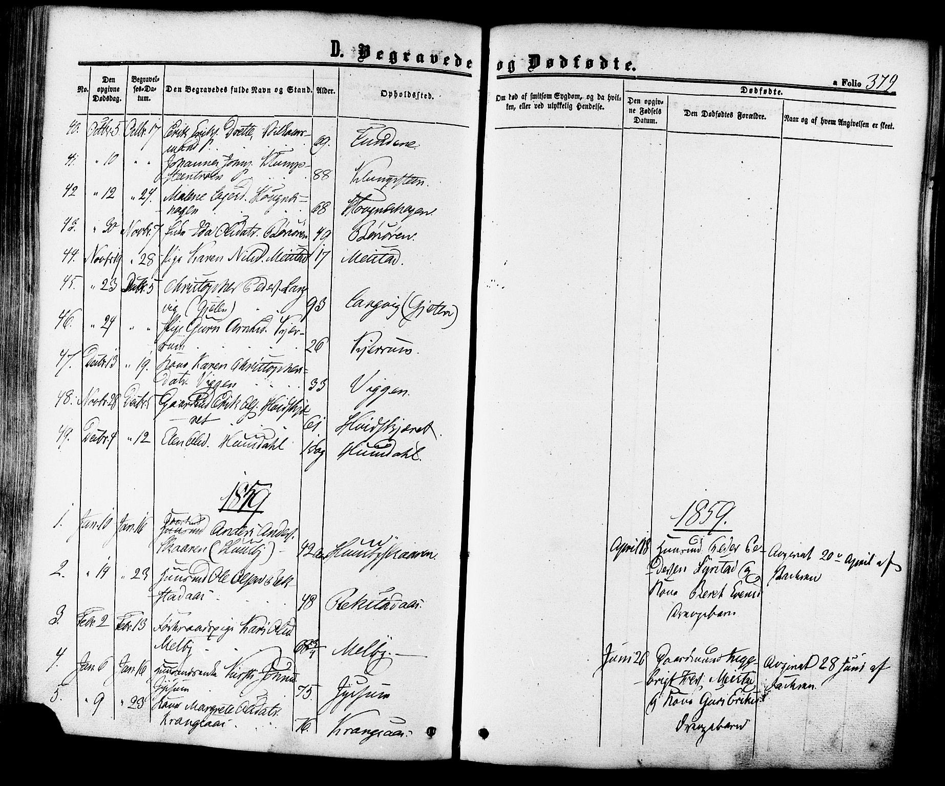 SAT, Ministerialprotokoller, klokkerbøker og fødselsregistre - Sør-Trøndelag, 665/L0772: Ministerialbok nr. 665A07, 1856-1878, s. 379