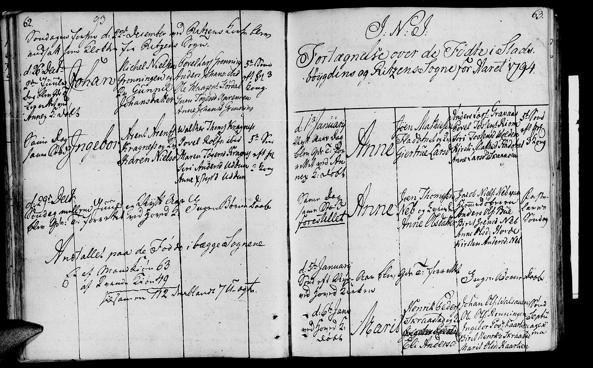 SAT, Ministerialprotokoller, klokkerbøker og fødselsregistre - Sør-Trøndelag, 646/L0606: Ministerialbok nr. 646A04, 1791-1805, s. 62-63