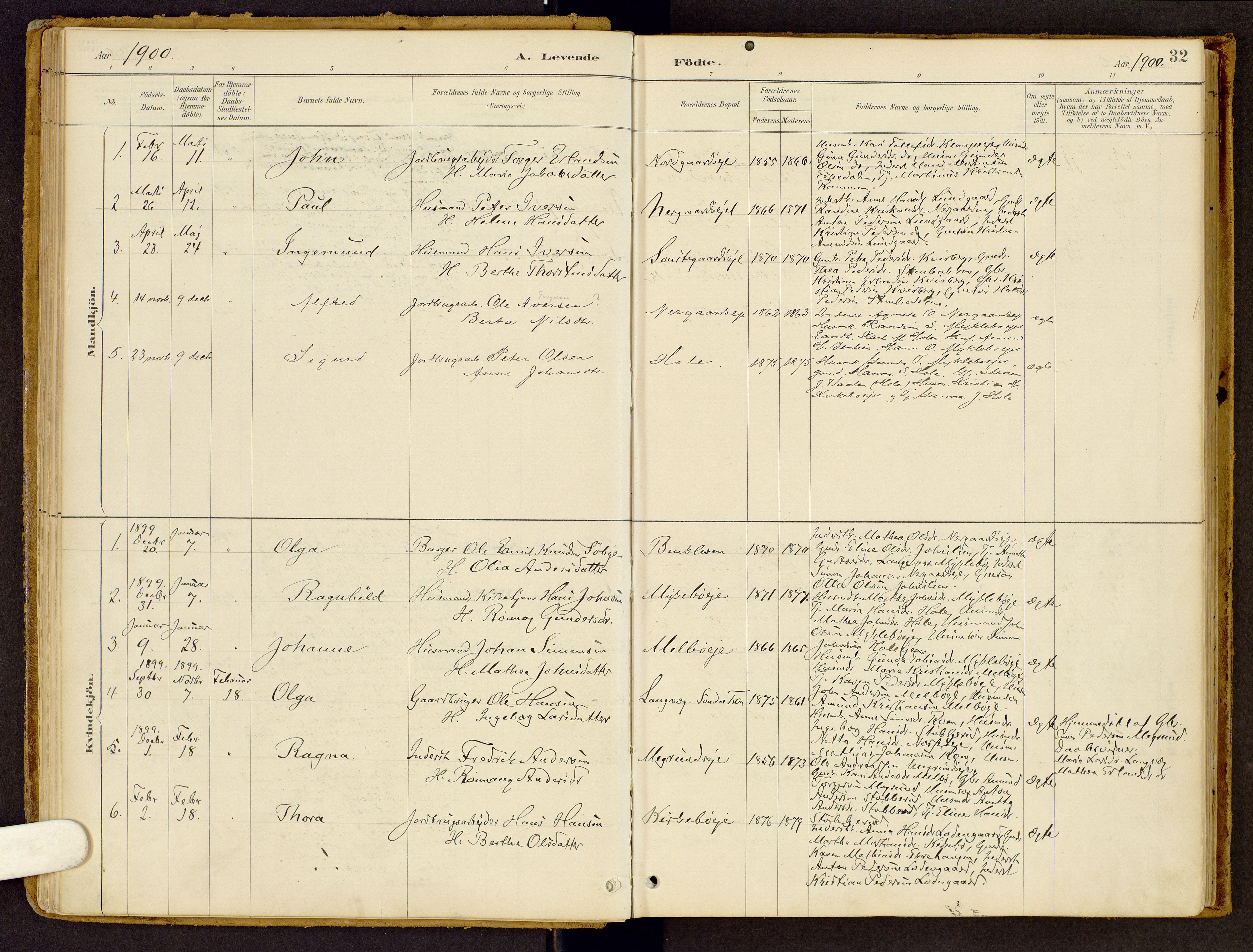 SAH, Vestre Gausdal prestekontor, Ministerialbok nr. 2, 1887-1918, s. 32