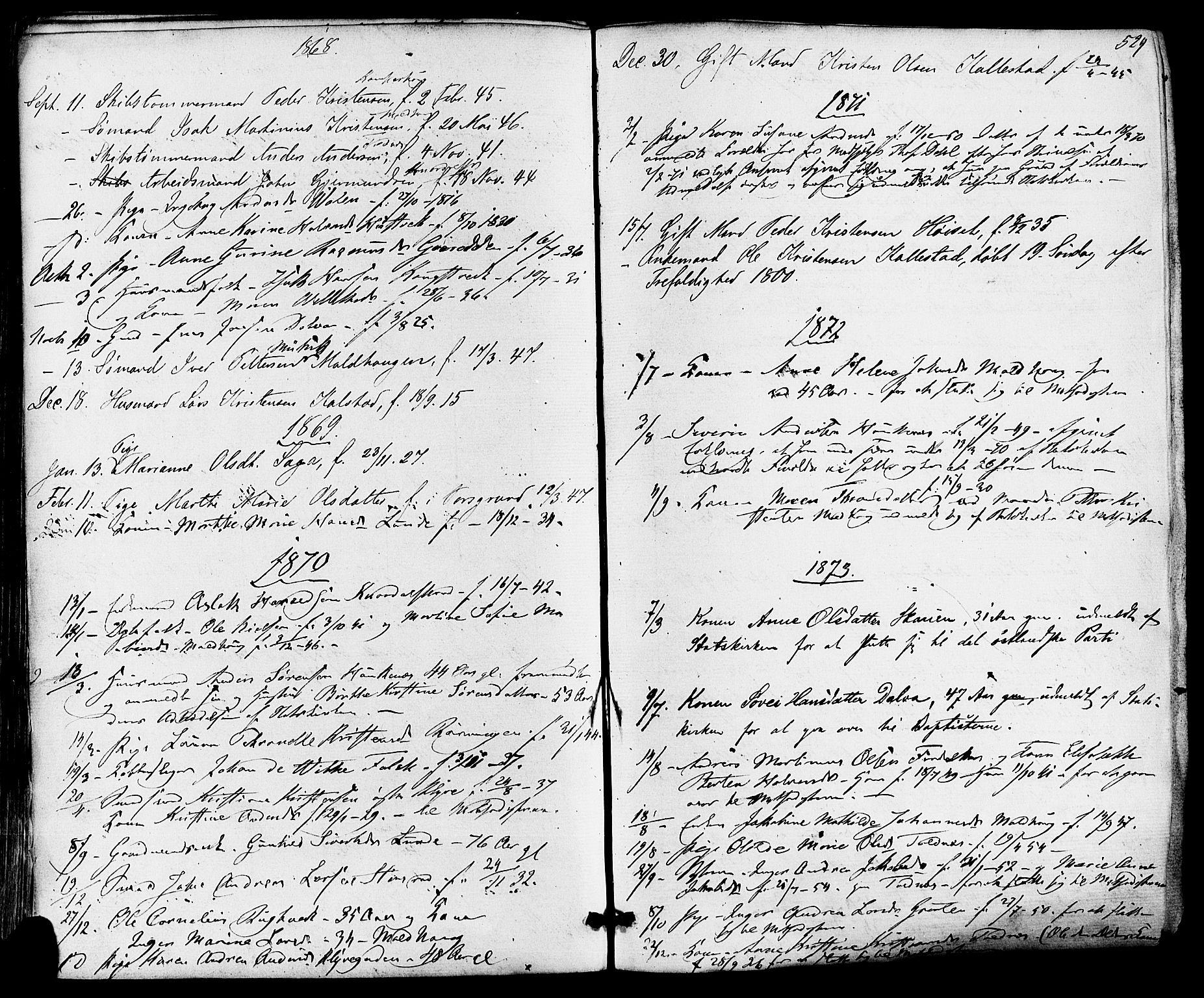 SAKO, Solum kirkebøker, F/Fa/L0008: Ministerialbok nr. I 8, 1865-1876, s. 529