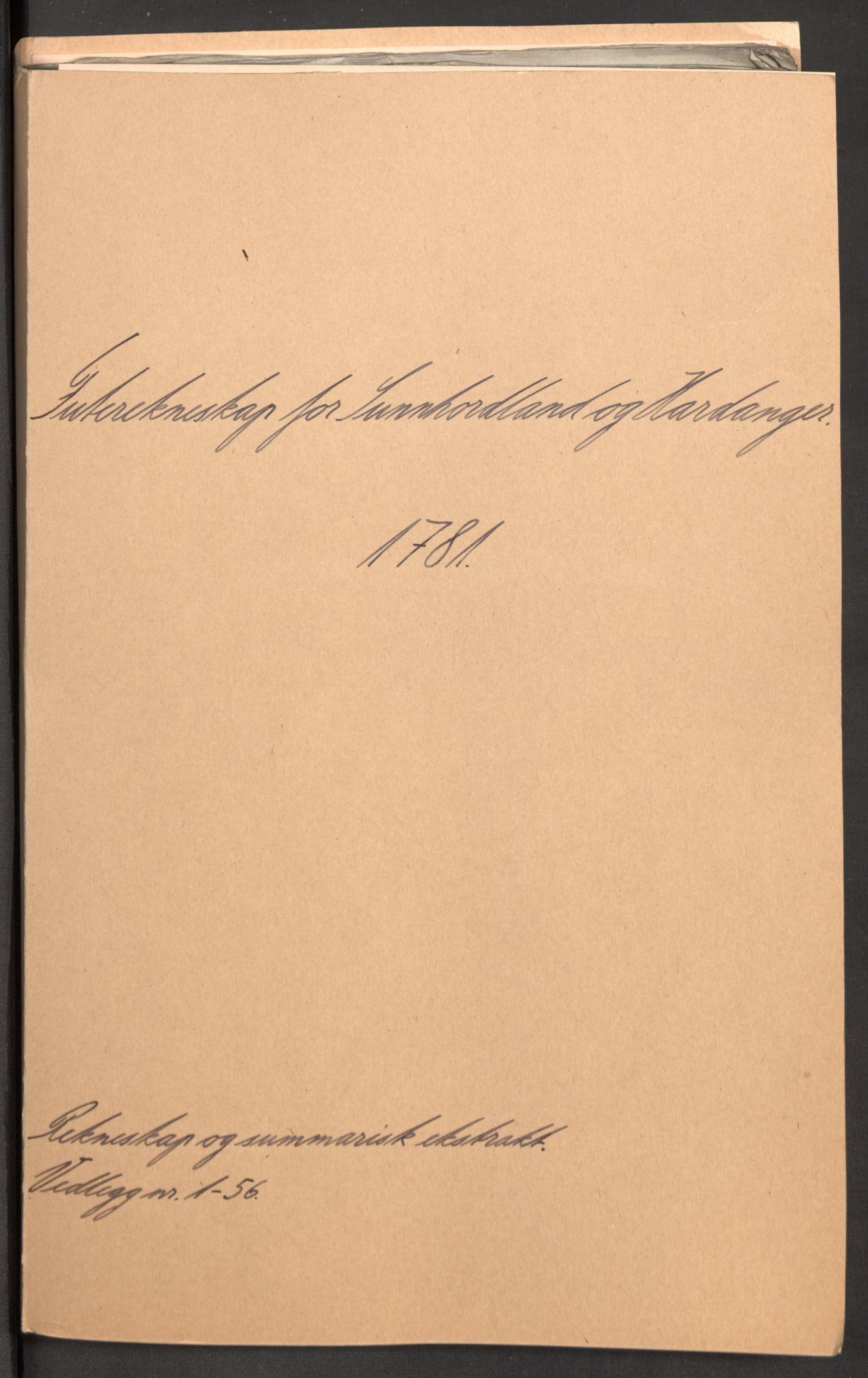 RA, Rentekammeret inntil 1814, Reviderte regnskaper, Fogderegnskap, R48/L3097: Fogderegnskap Sunnhordland og Hardanger, 1781, s. 2